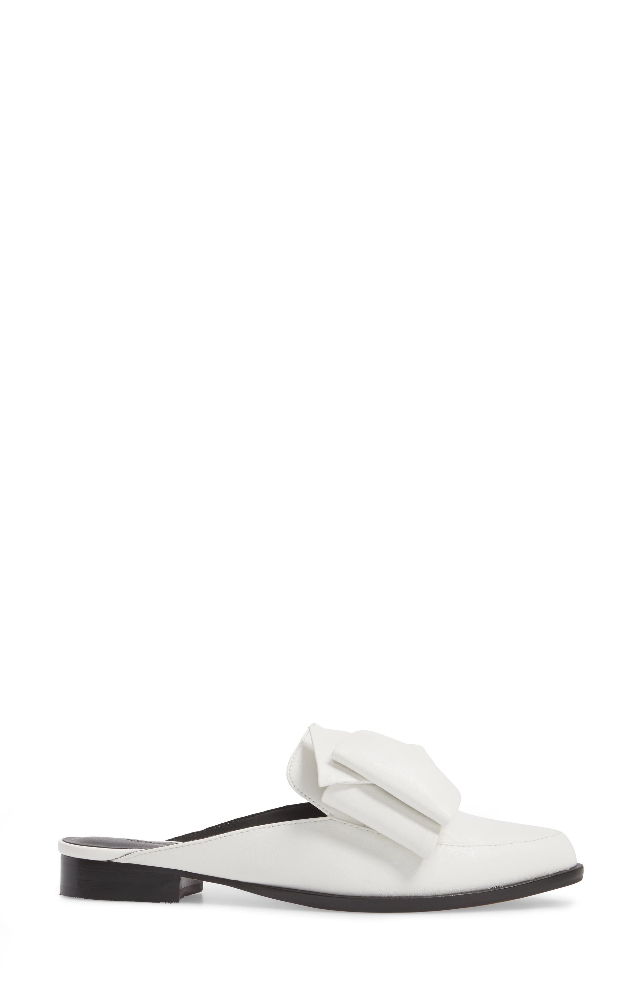 Mabel Loafer Mule,                             Alternate thumbnail 3, color,                             OPTIC WHITE LEATHER
