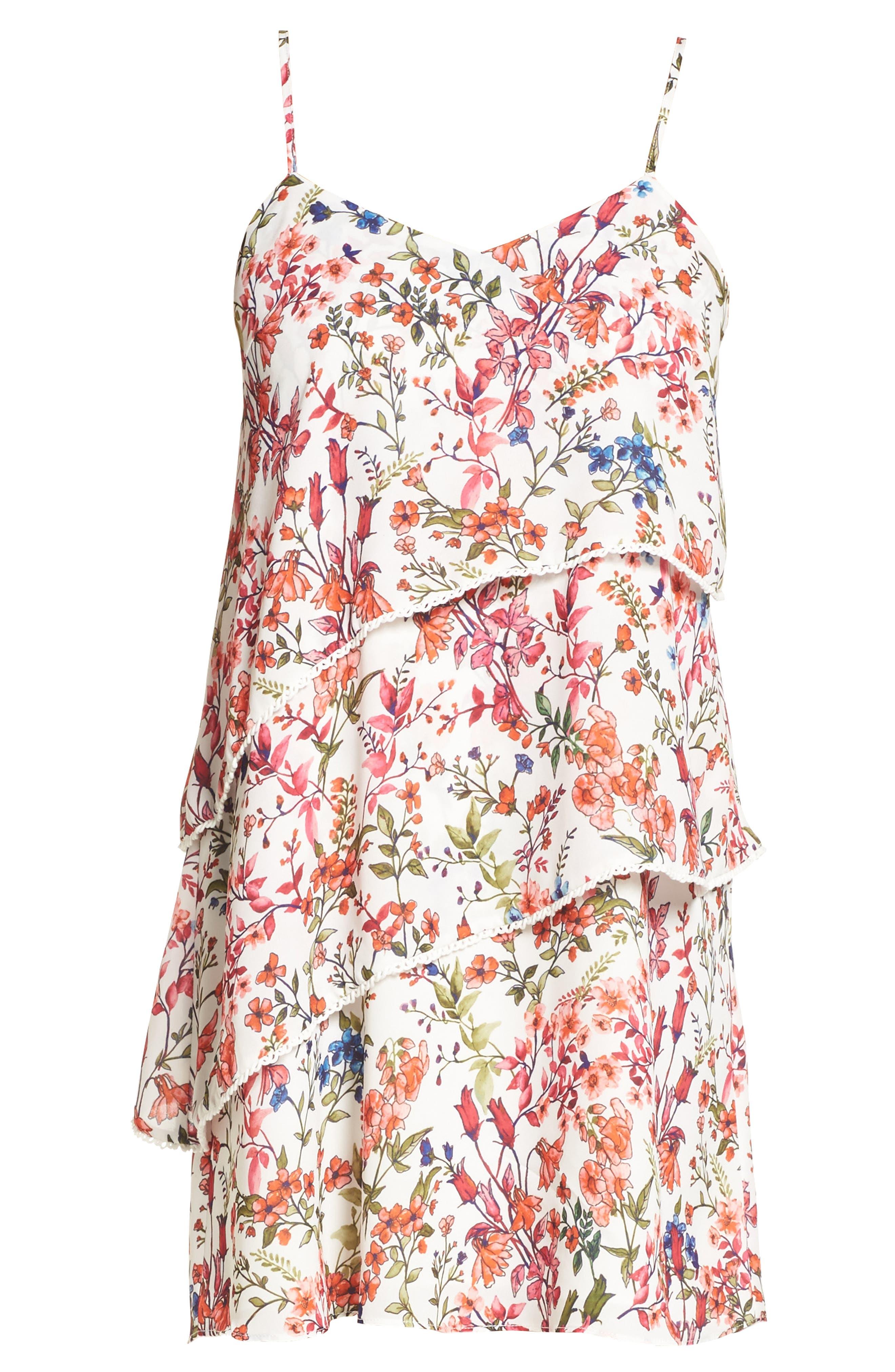 Floral Print Minidress,                             Alternate thumbnail 6, color,                             152