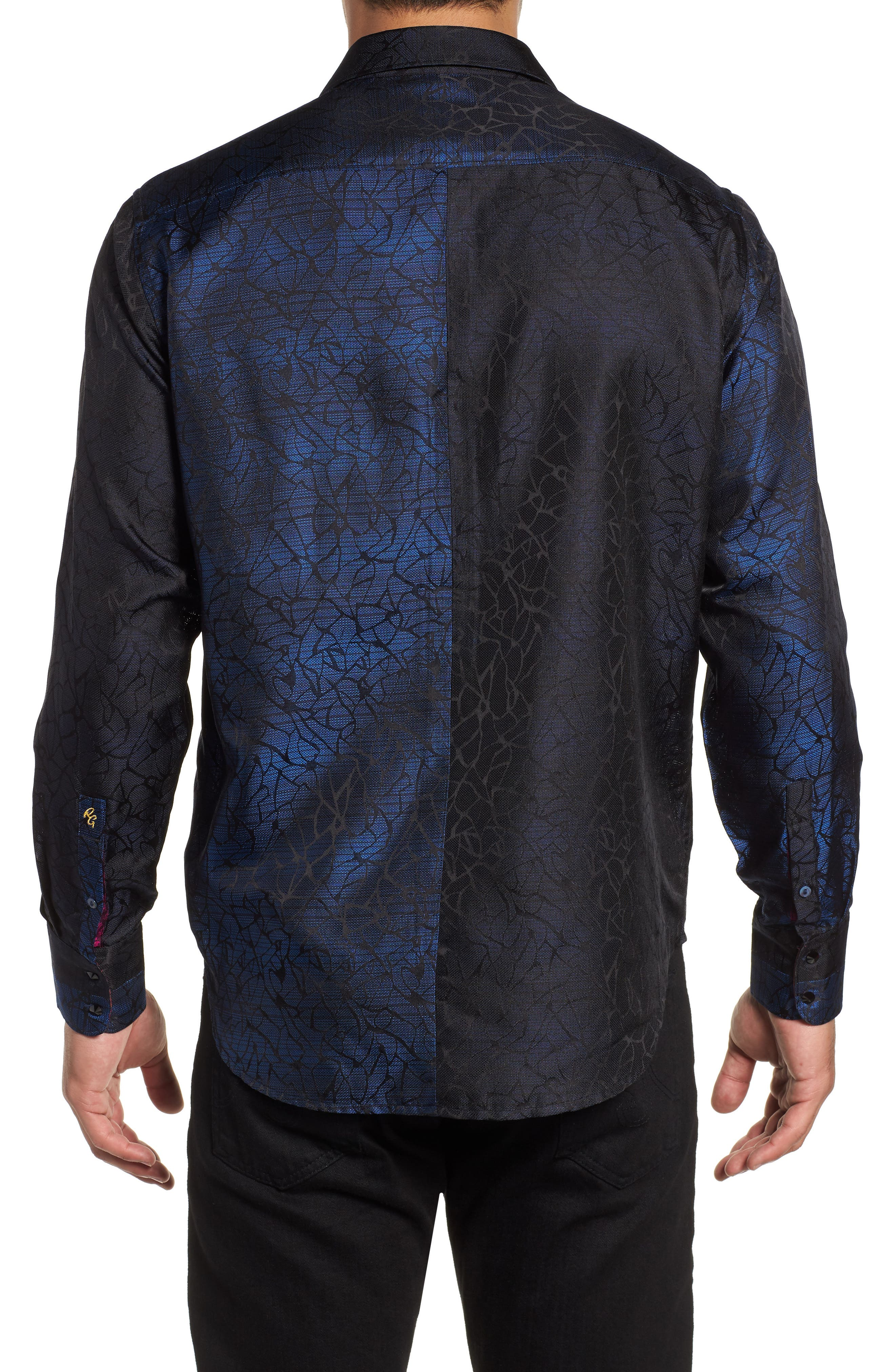 Seibelesk Limited Edition Classic Fit Silk Sport Shirt,                             Alternate thumbnail 3, color,                             NAVY