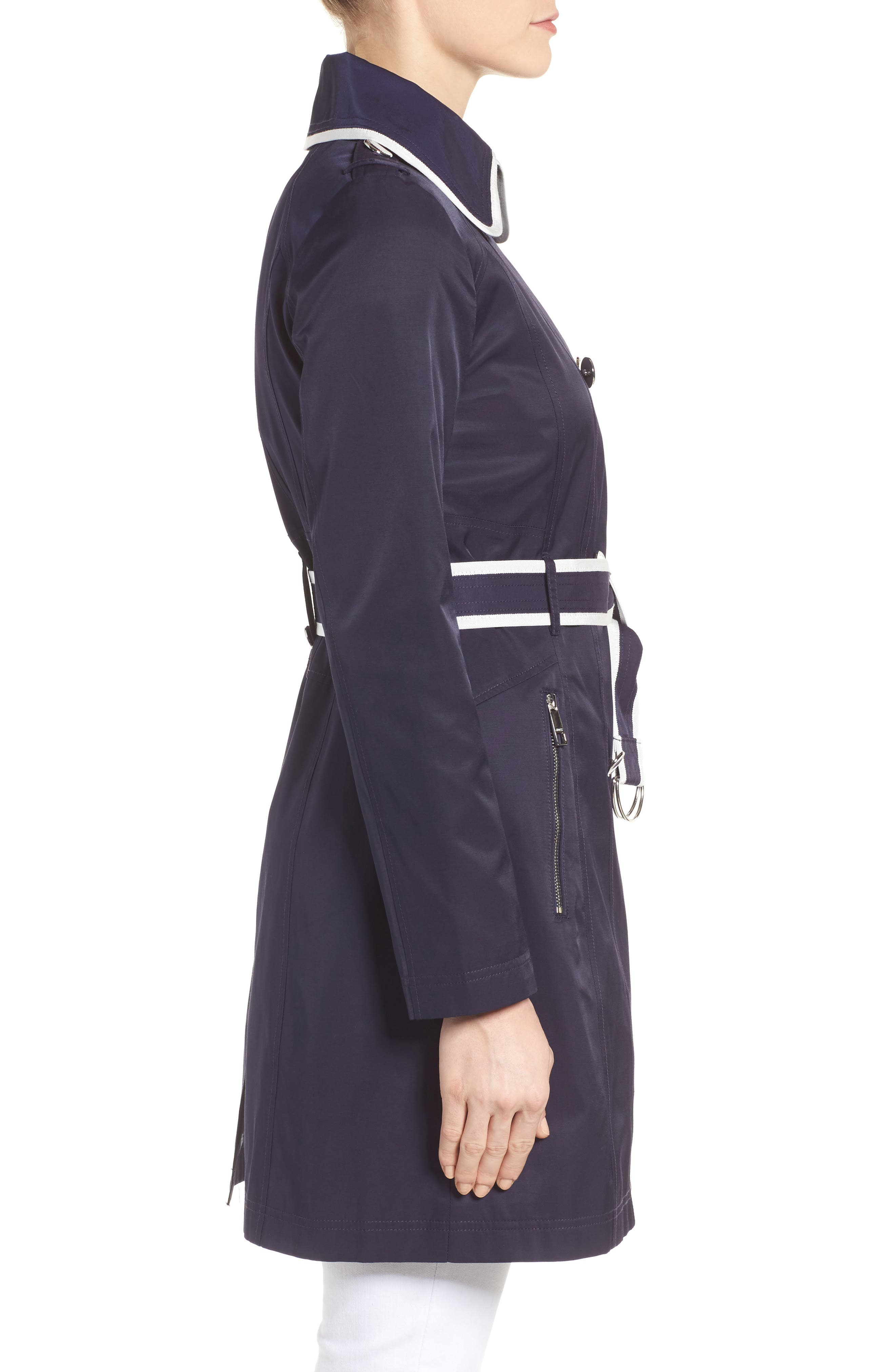 Piped Trench Coat,                             Alternate thumbnail 3, color,                             410