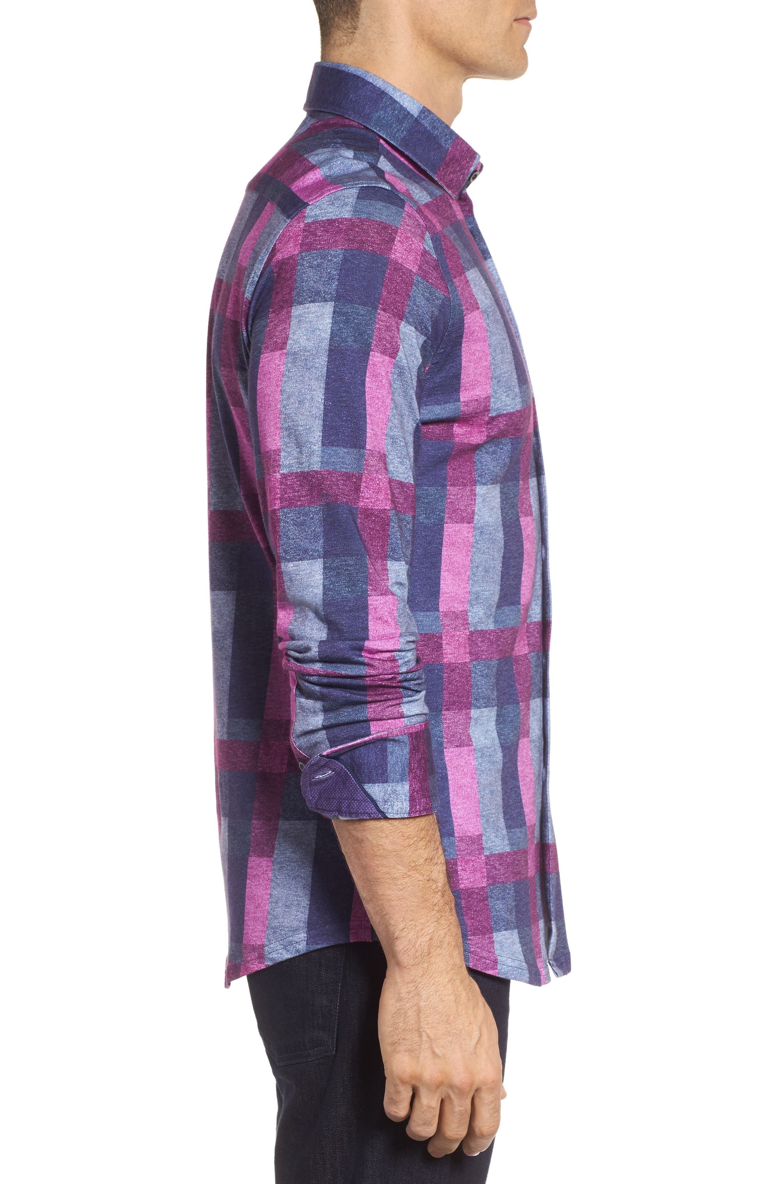Multicheck Print Knit Sport Shirt,                             Alternate thumbnail 3, color,                             410