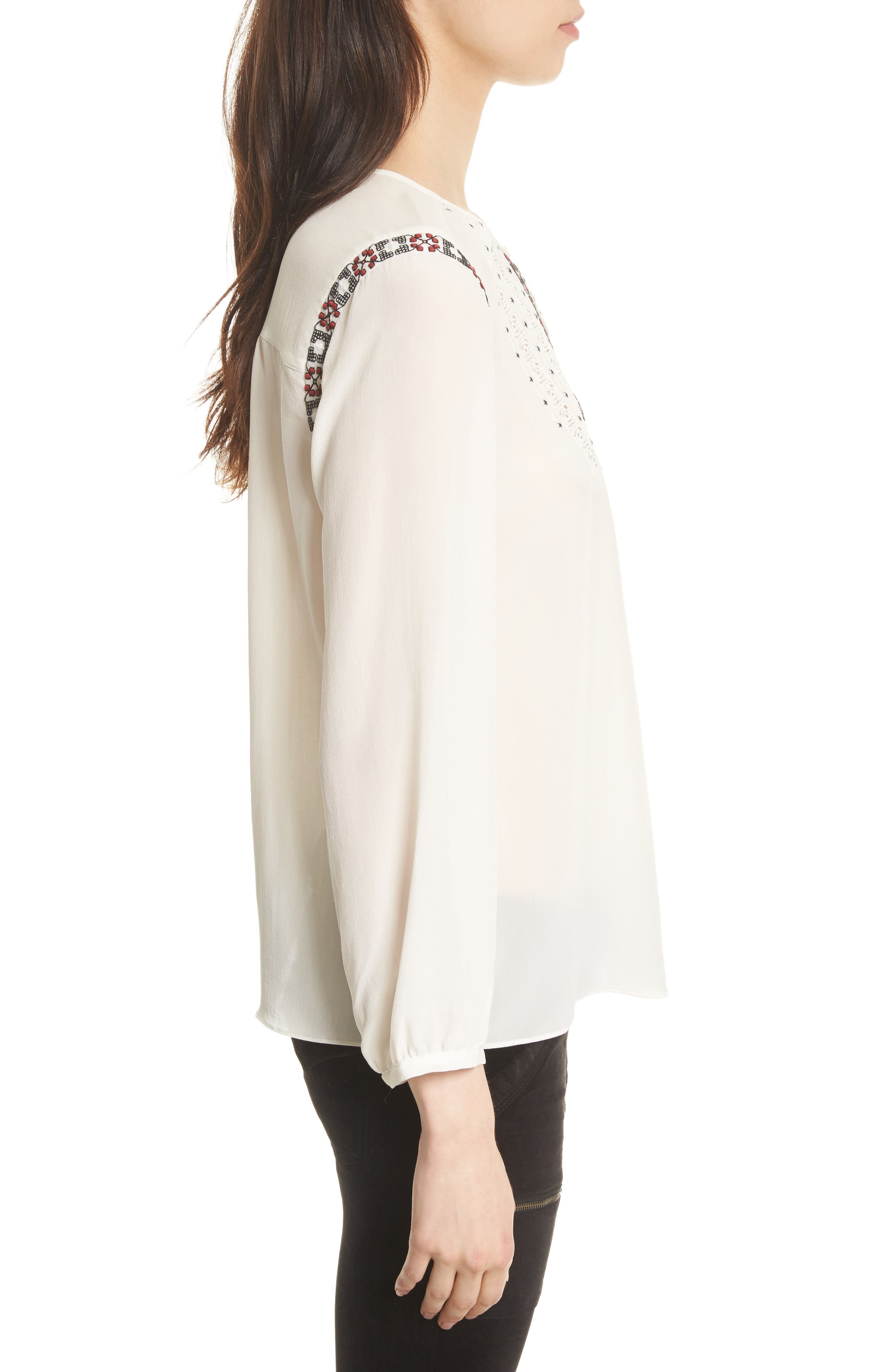 Clema Embroidered Bib Silk Top,                             Alternate thumbnail 3, color,                             114