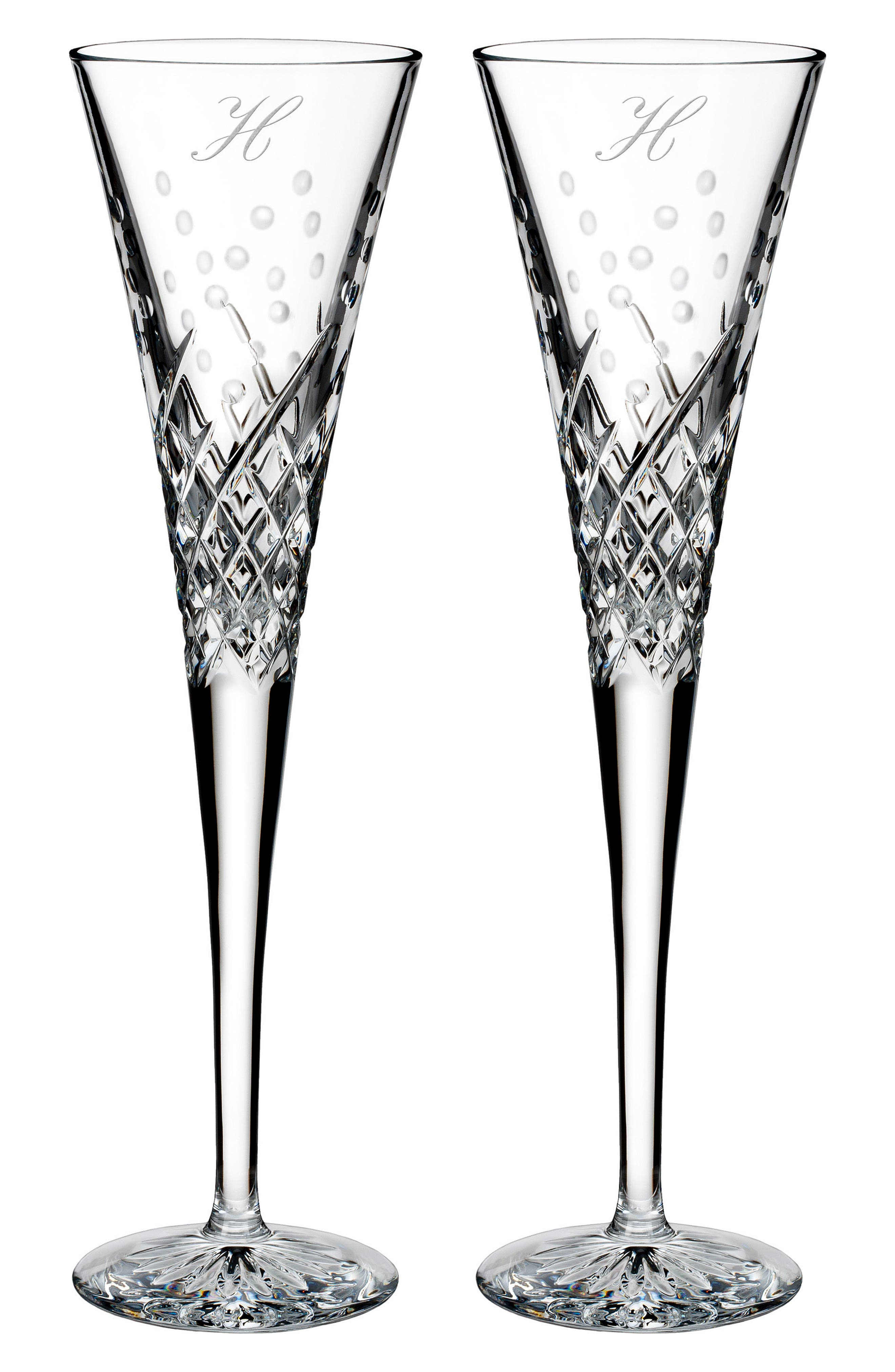 WATERFORD,                             Happy Celebrations Set of 2 Monogram Lead Crystal Champagne Flutes,                             Main thumbnail 1, color,                             CLEAR - H