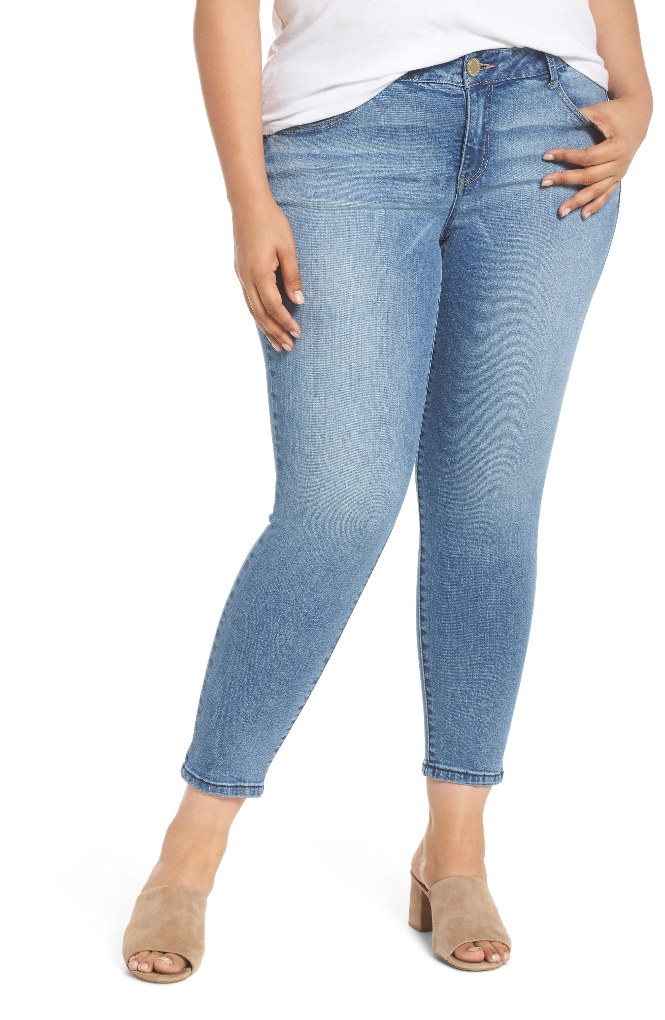 WIT & WISDOM,                             Ab-solution Stretch Ankle Skimmer Jeans,                             Main thumbnail 1, color,                             LIGHT BLUE