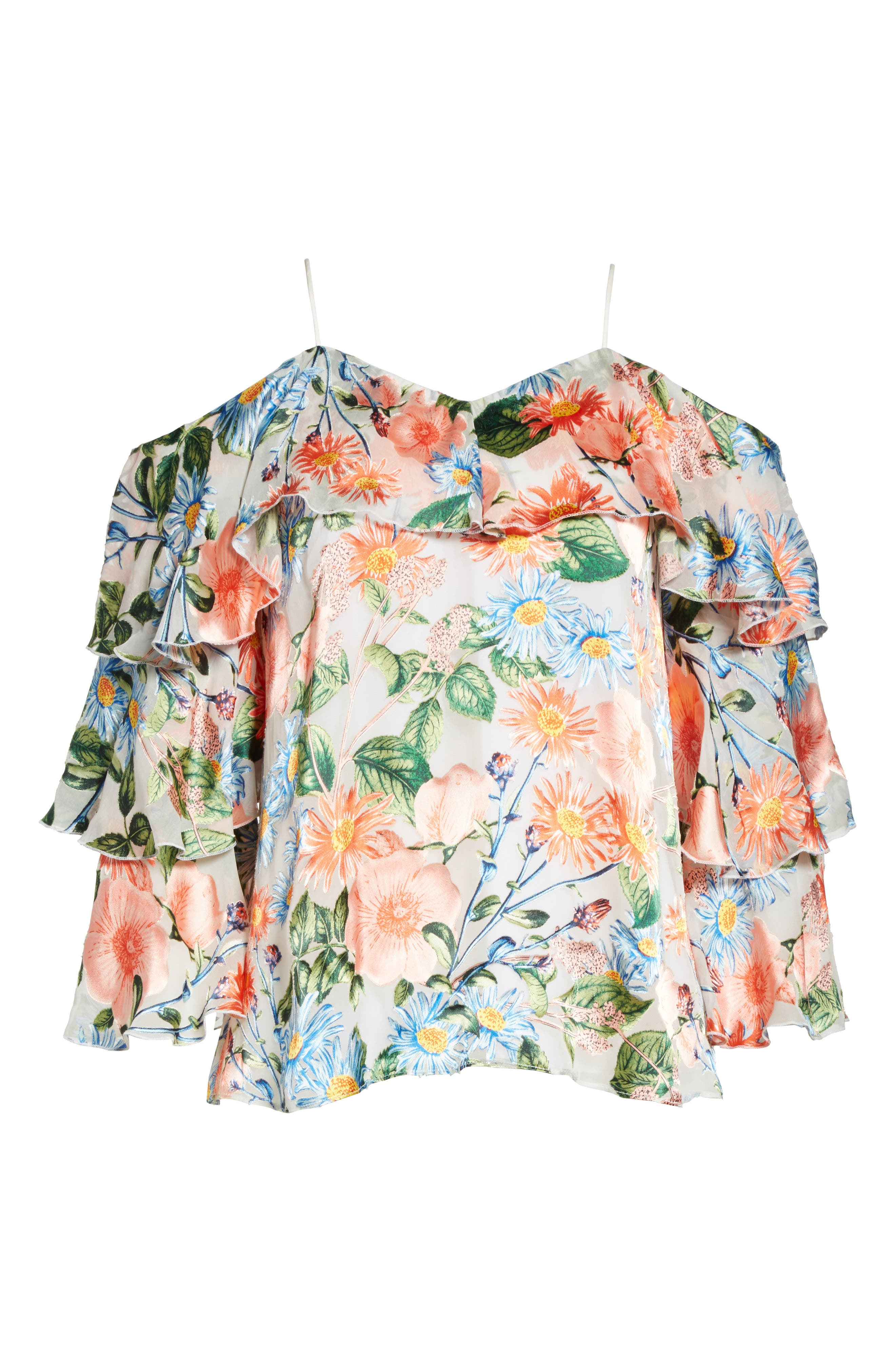 Marylee Floral Off the Shoulder Blouse,                             Alternate thumbnail 6, color,                             470
