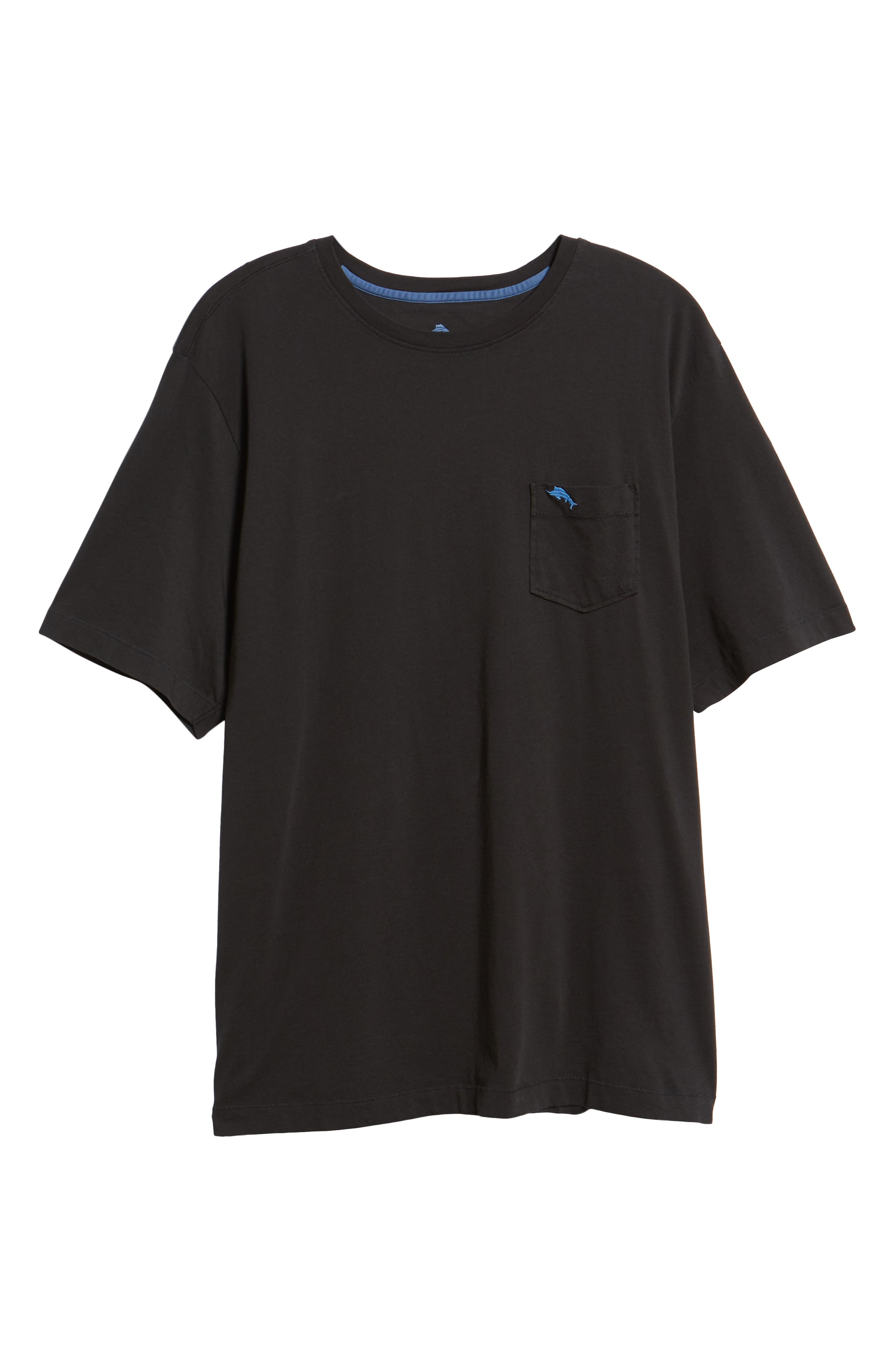 'New Bali Sky' Original Fit Crewneck Pocket T-Shirt,                             Alternate thumbnail 6, color,                             BLACK
