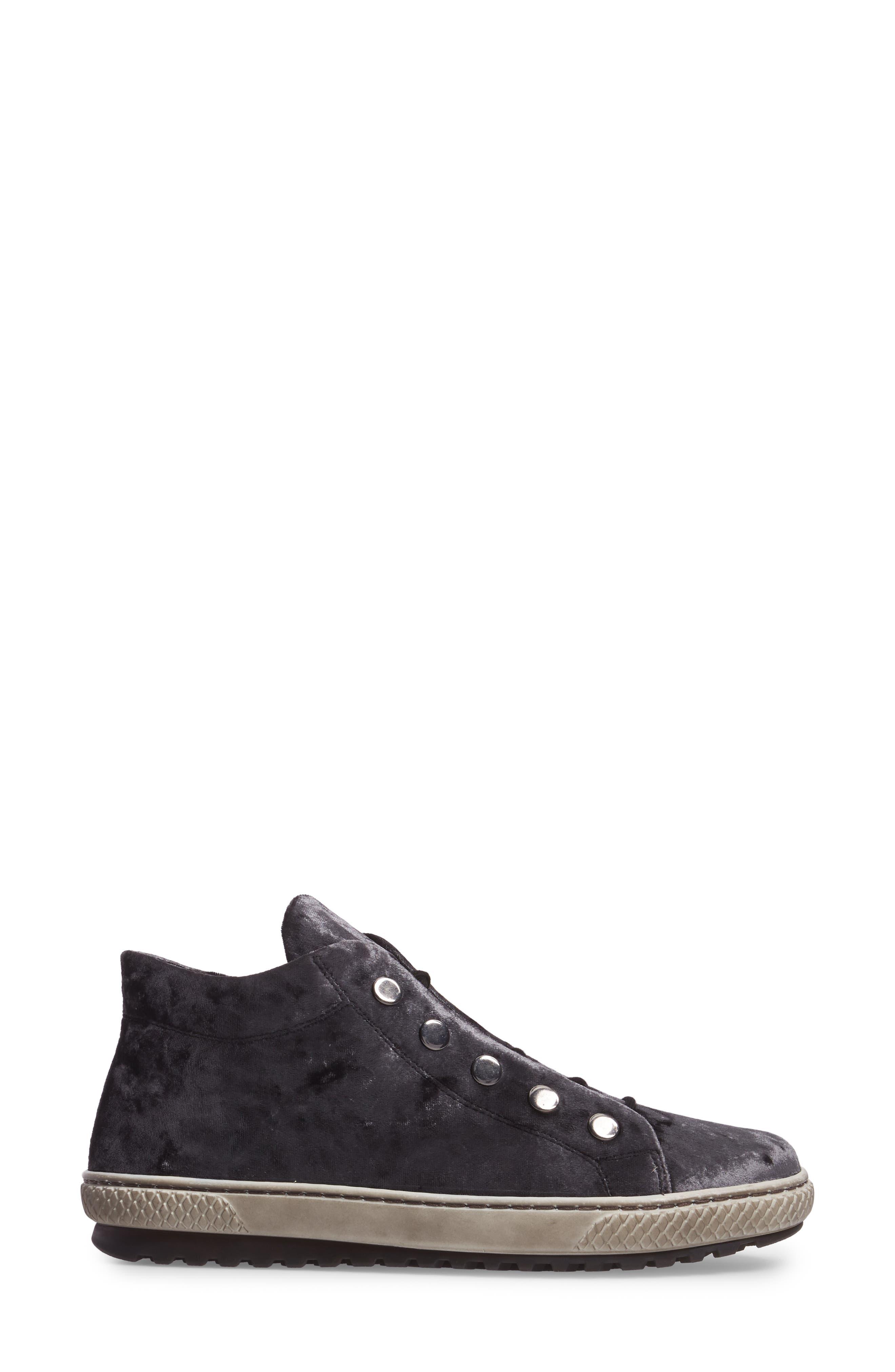 Mid Top Velvet Sneaker,                             Alternate thumbnail 3, color,                             GREY VELVET