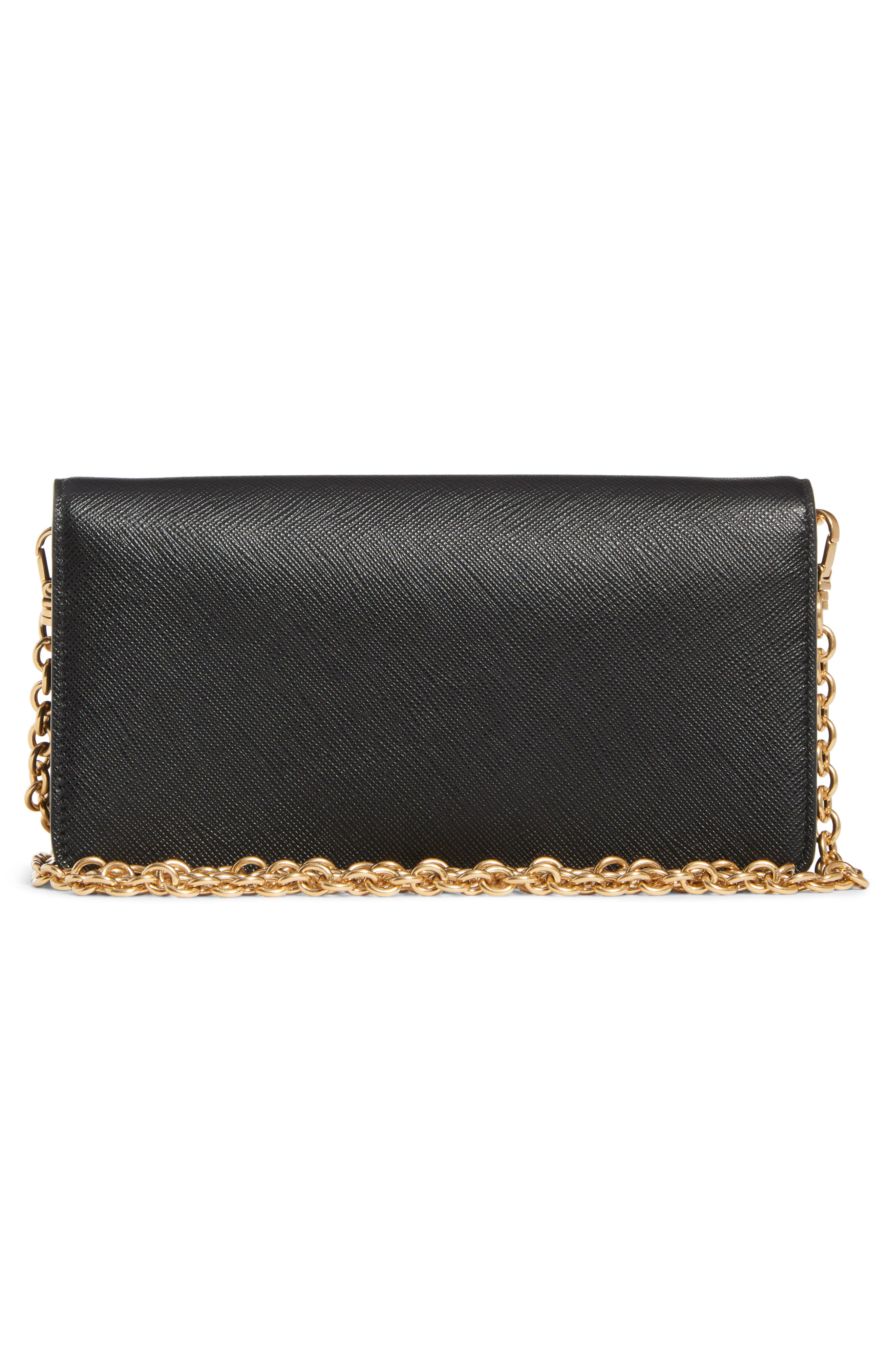 Embellished Saffiano Leather Wallet on a Chain,                             Alternate thumbnail 2, color,                             NERO/ FUOCO