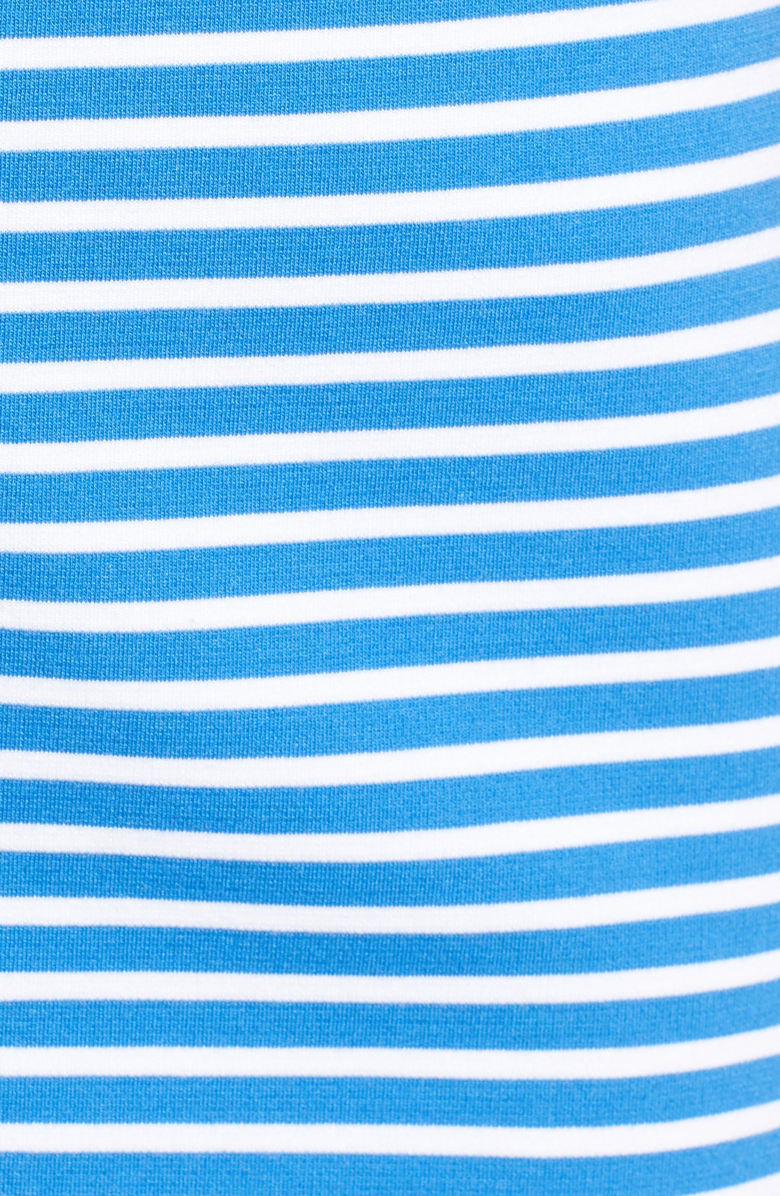 Stripe Persley Ponte Fit & Flare Dress,                             Alternate thumbnail 5, color,                             452