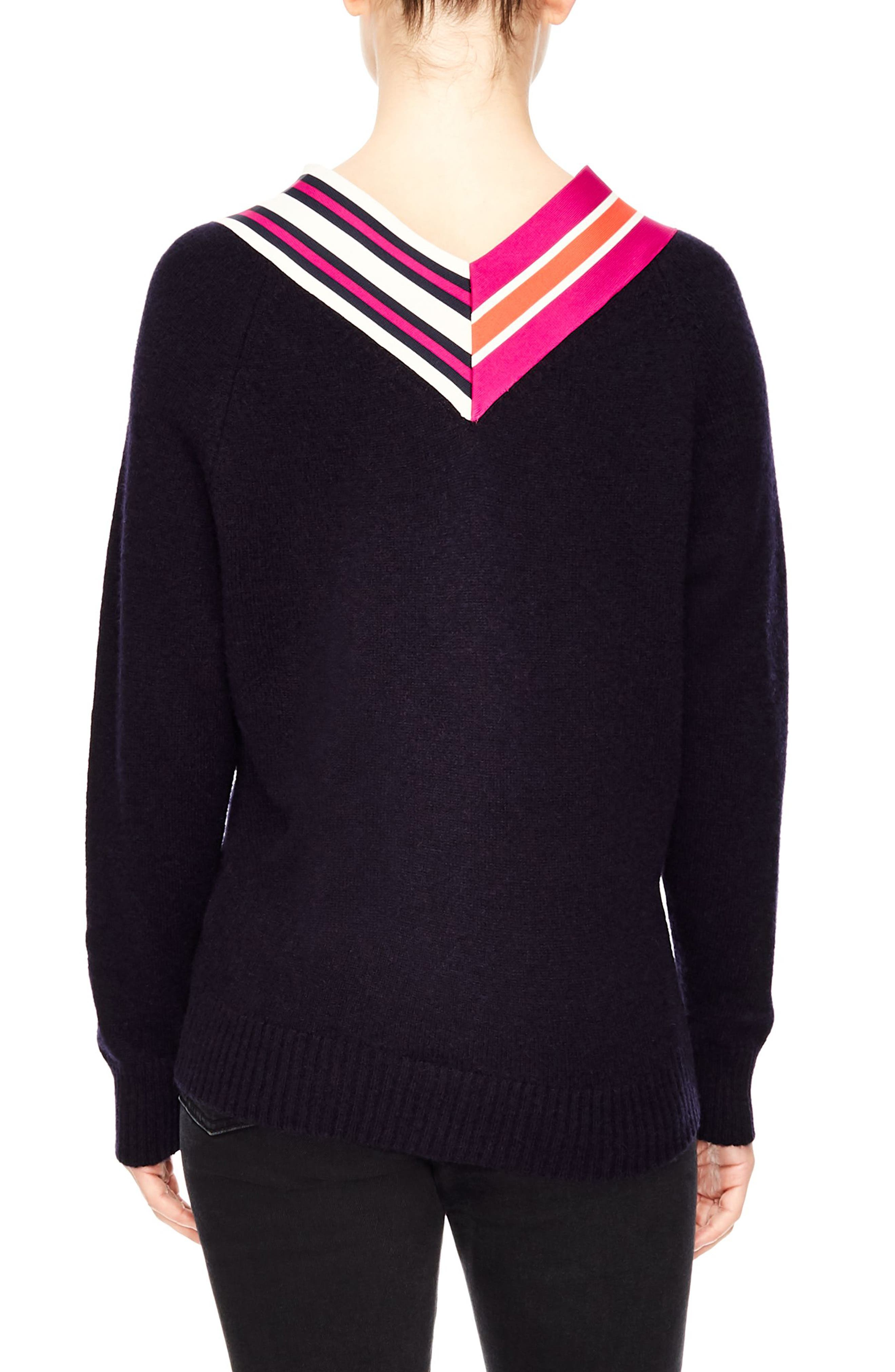 Stripe Neck Sweater,                             Alternate thumbnail 2, color,                             DEEP NAVY