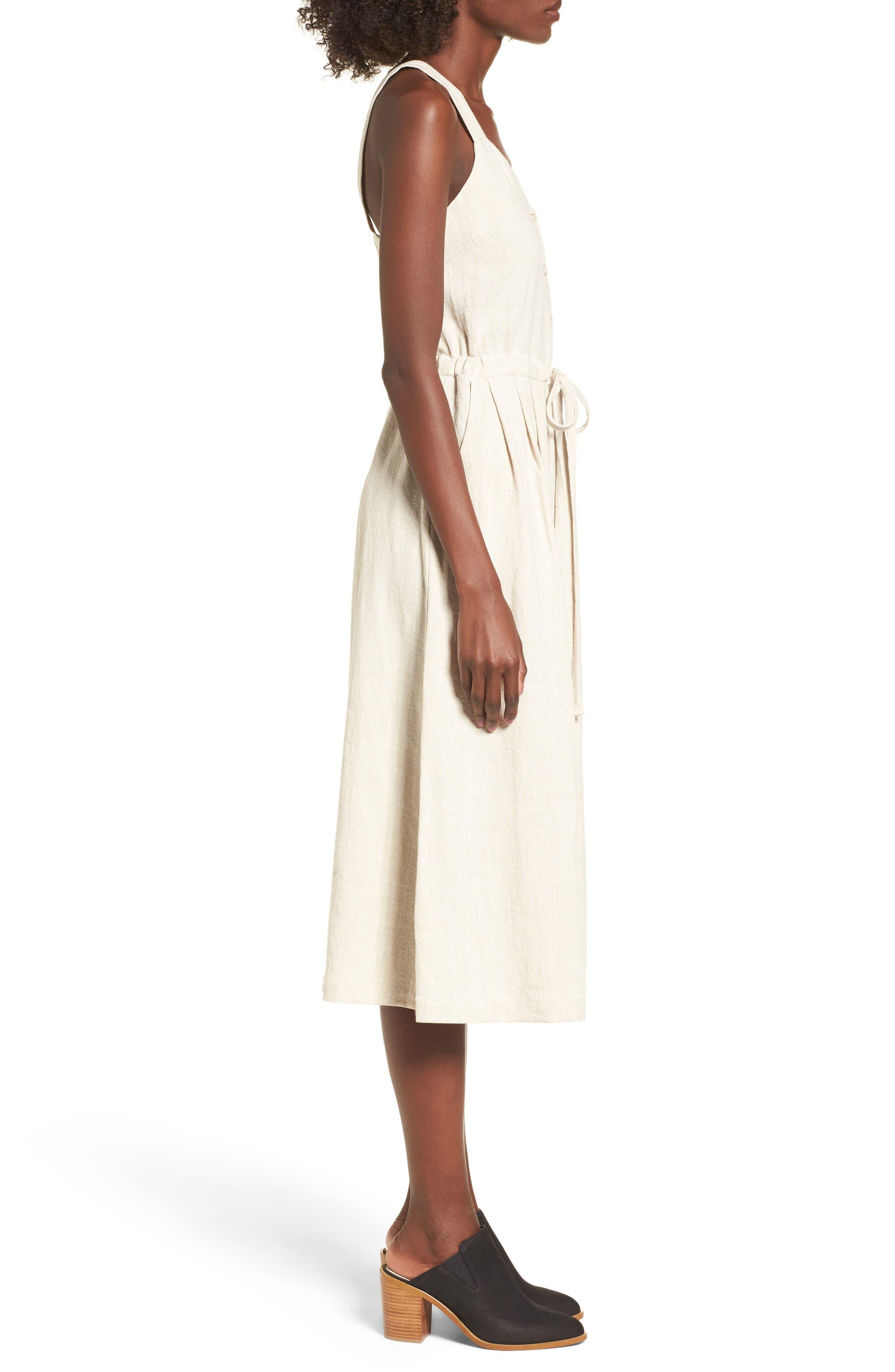 Button Up Drawstring Midi Dress,                             Alternate thumbnail 3, color,                             250