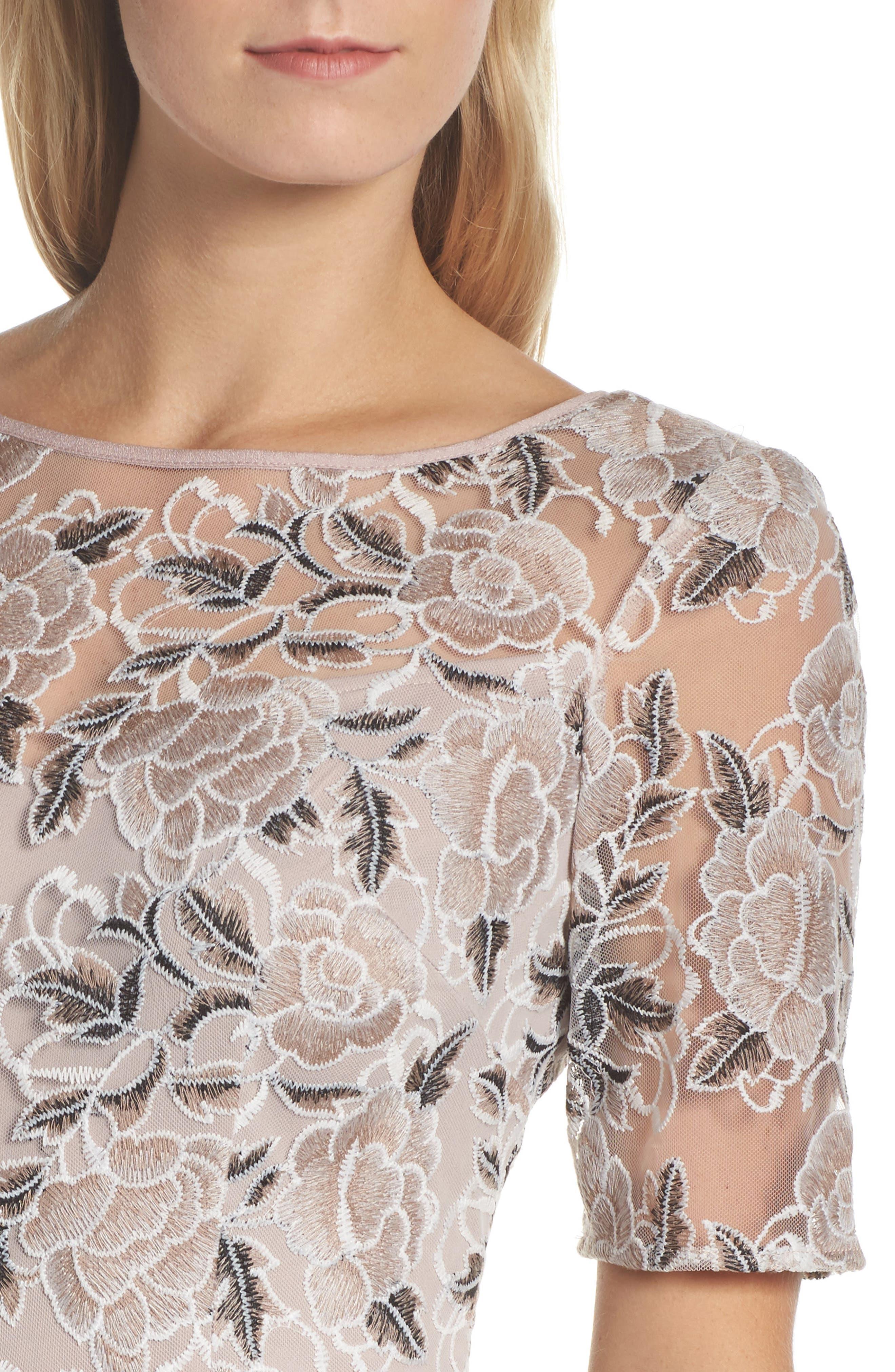 Suzette Embroidered Sheath Dress,                             Alternate thumbnail 4, color,