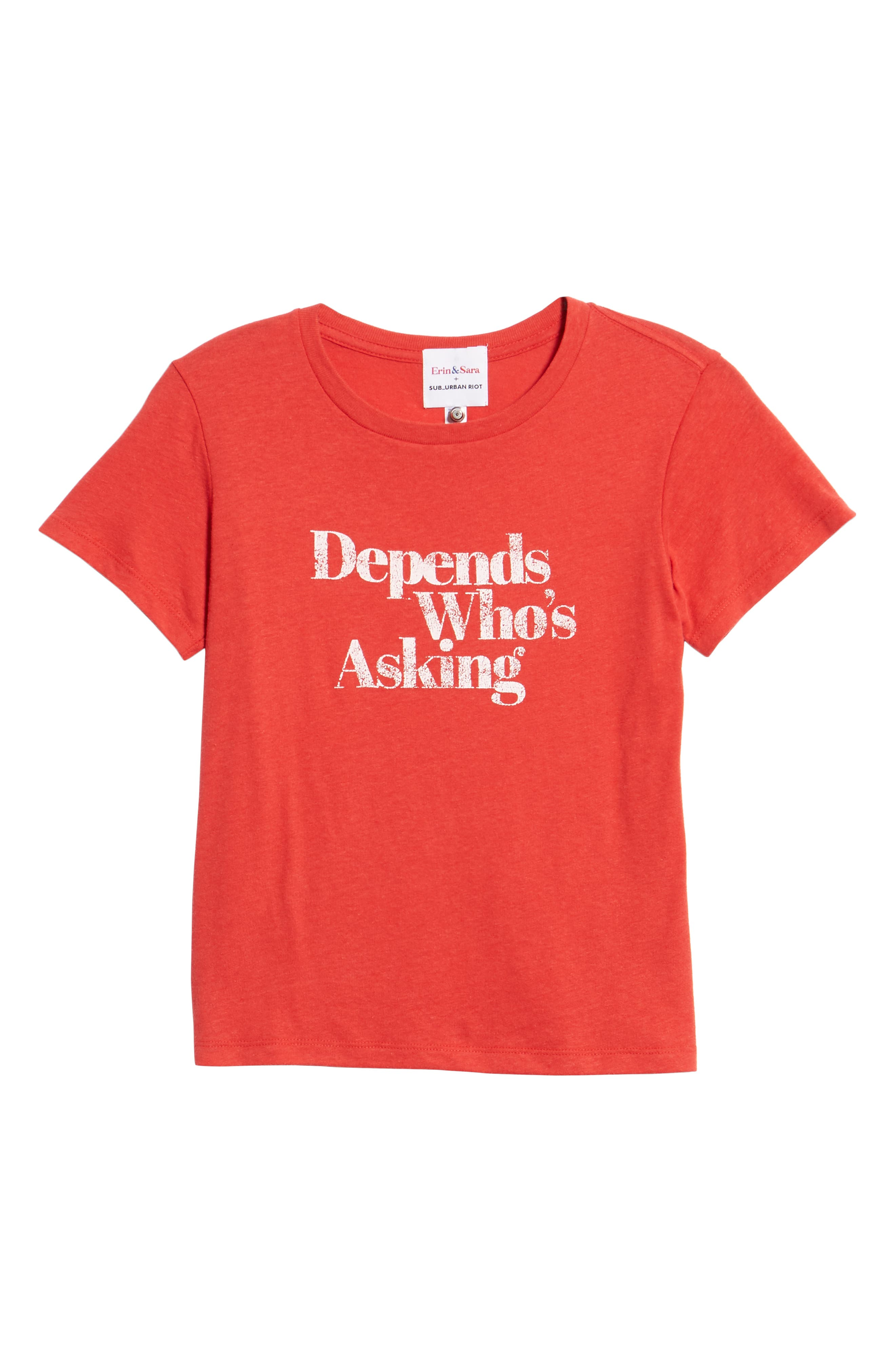 x Erin & Sara Depends Who's Asking Tee,                             Alternate thumbnail 6, color,                             RED