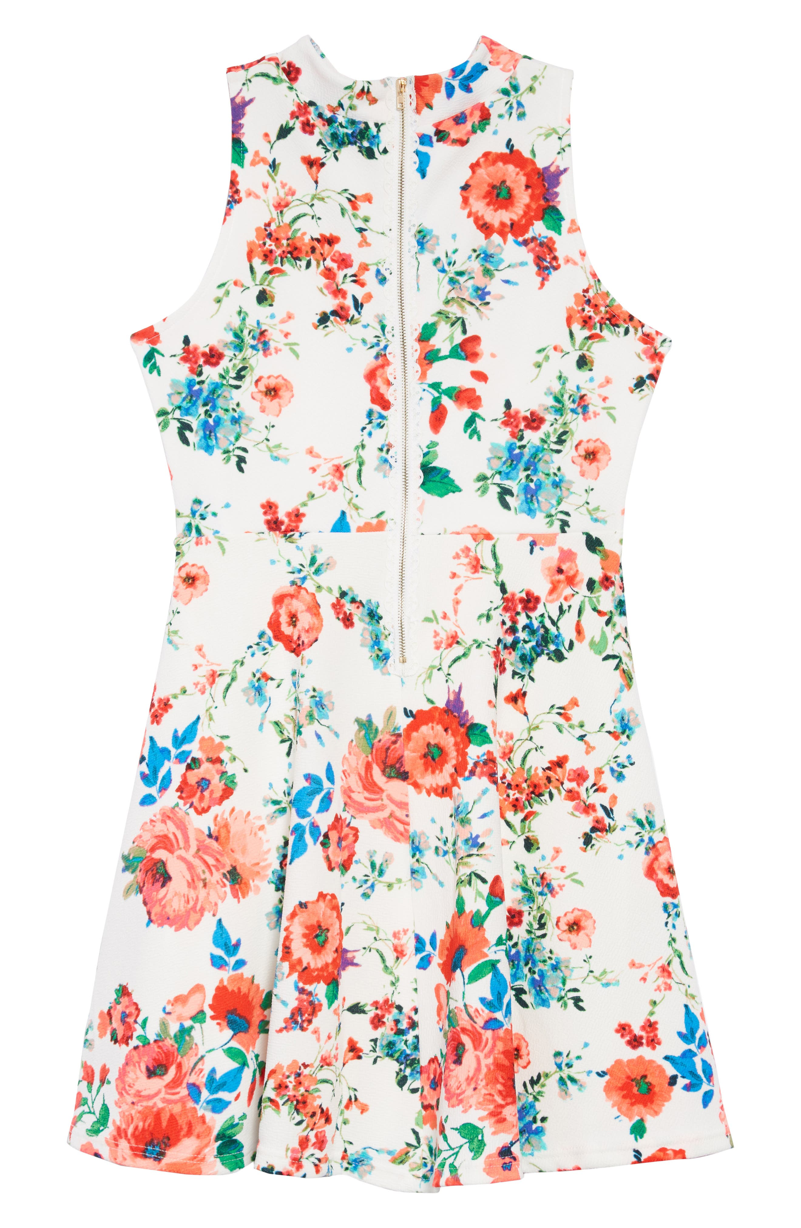 Floral Skater Dress,                             Alternate thumbnail 2, color,                             400