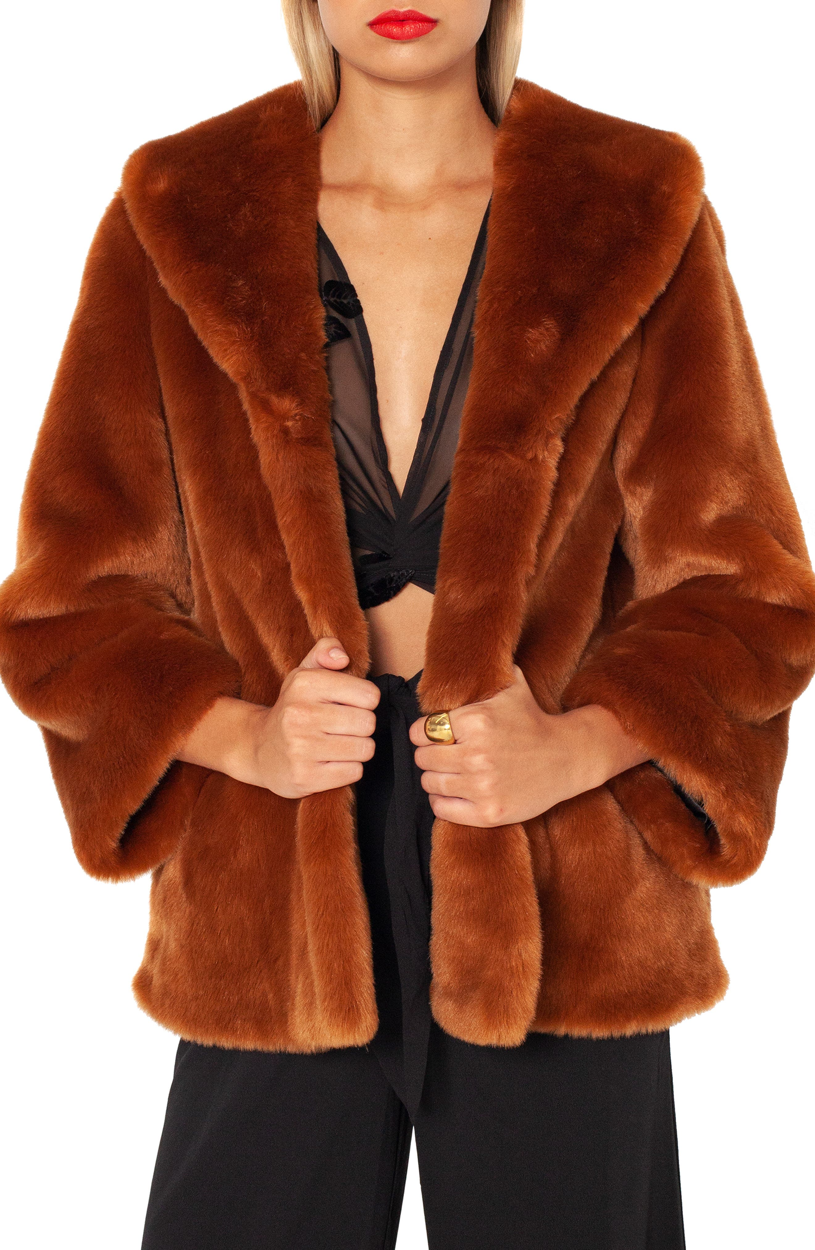 AMUSE SOCIETY Furever Mine Faux Fur Jacket in Camel