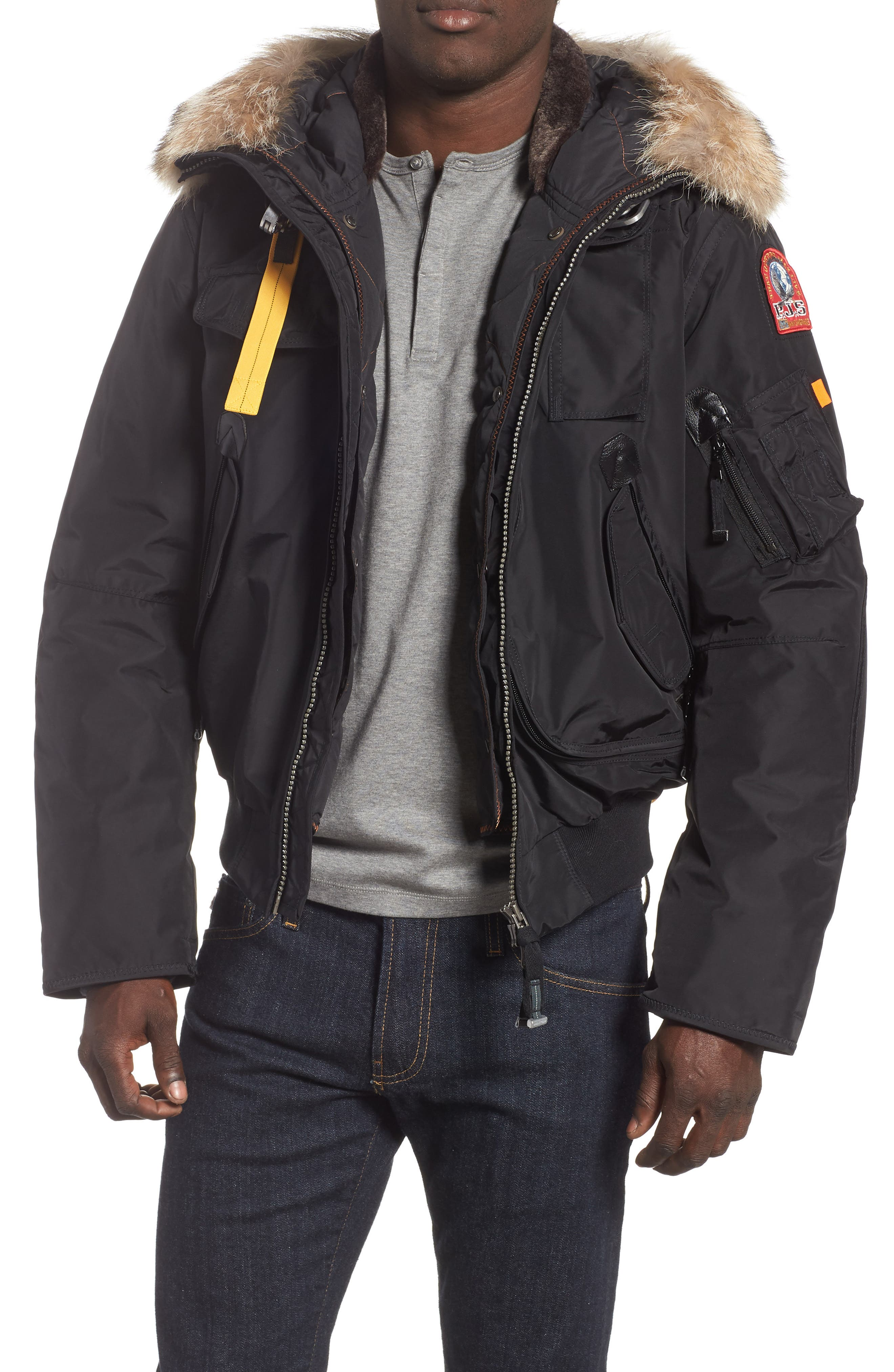 Gobi 700 Fill Power Down Bomber Jacket with Genuine Coyote Fur Trim,                         Main,                         color, BLACK