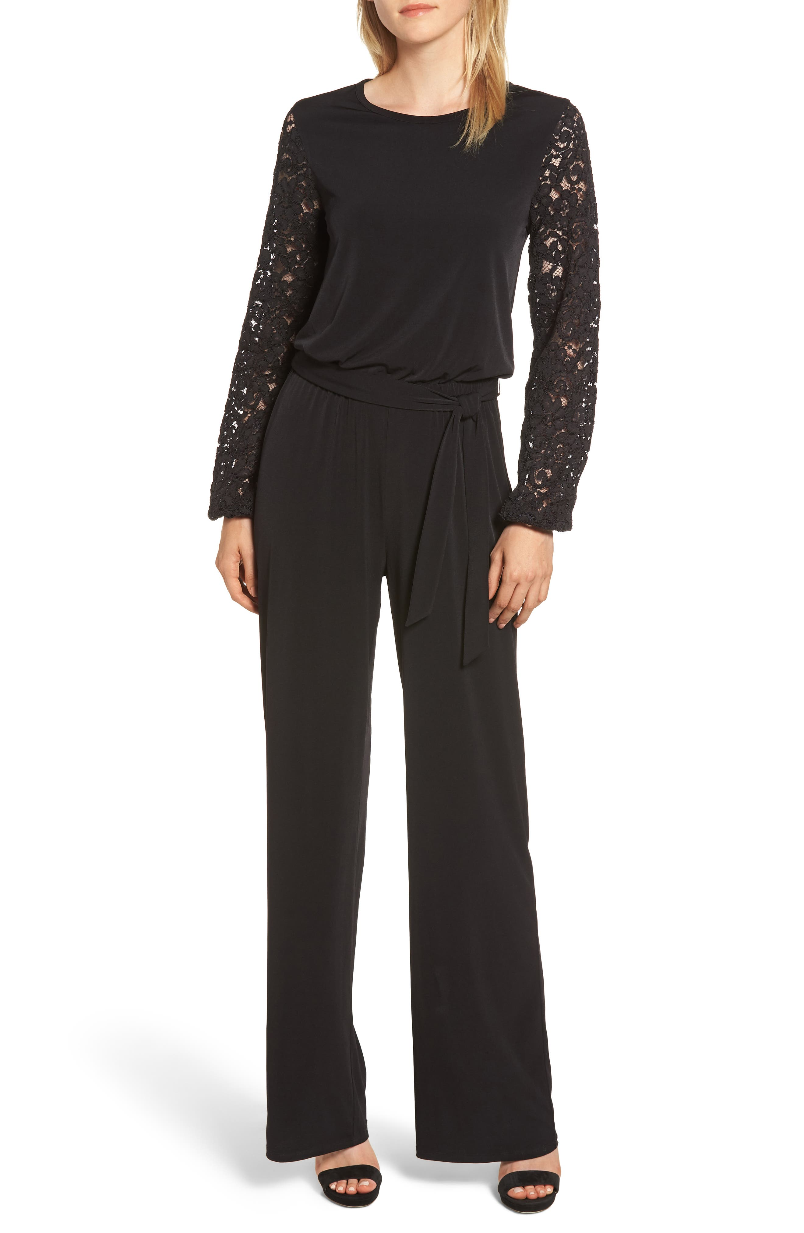Jewel-Neck Lace-Sleeve Jumpsuit With Belted Waist in Black