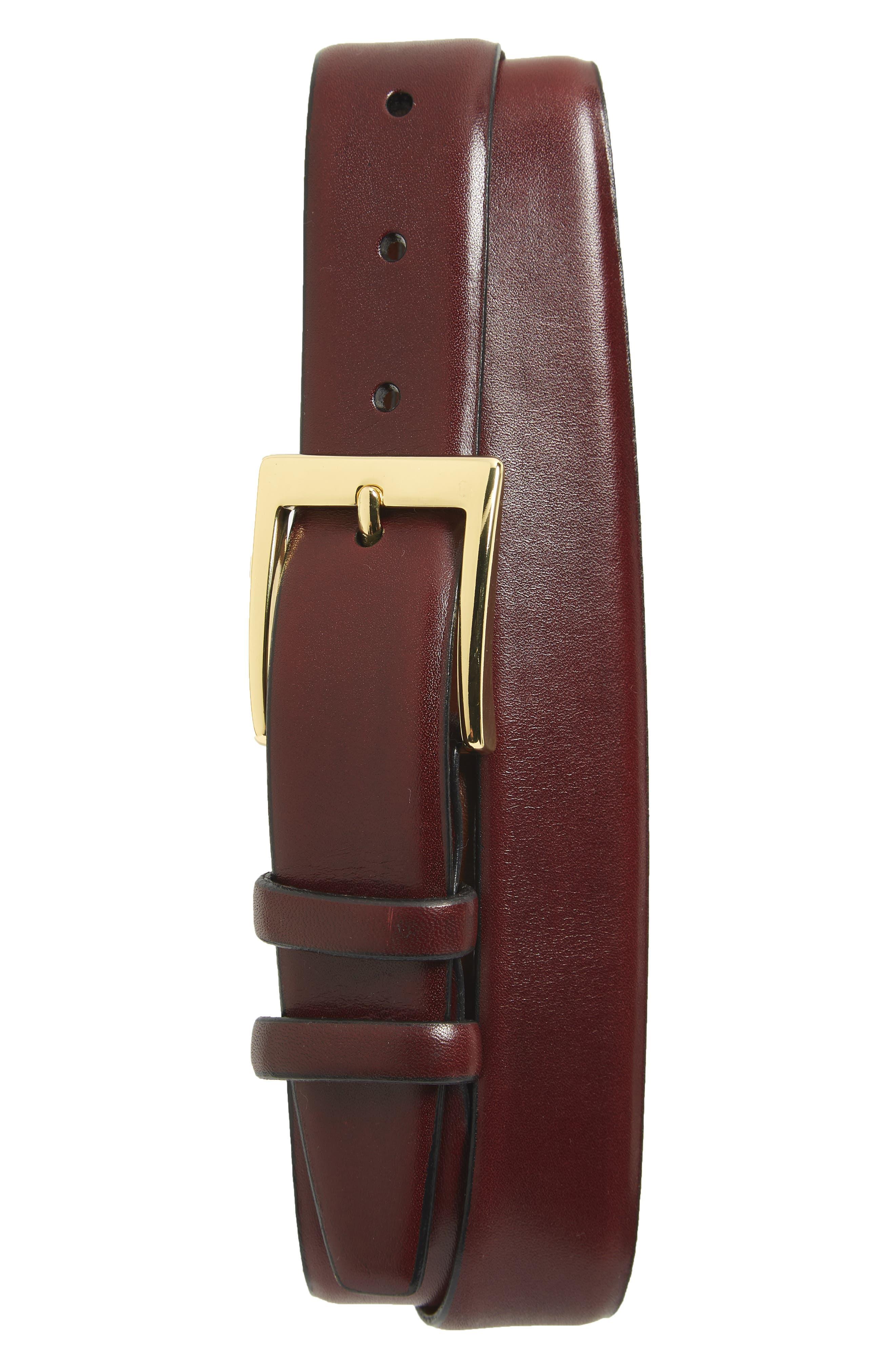 Torino Belts Double Buckle Leather Belt, Cordovan