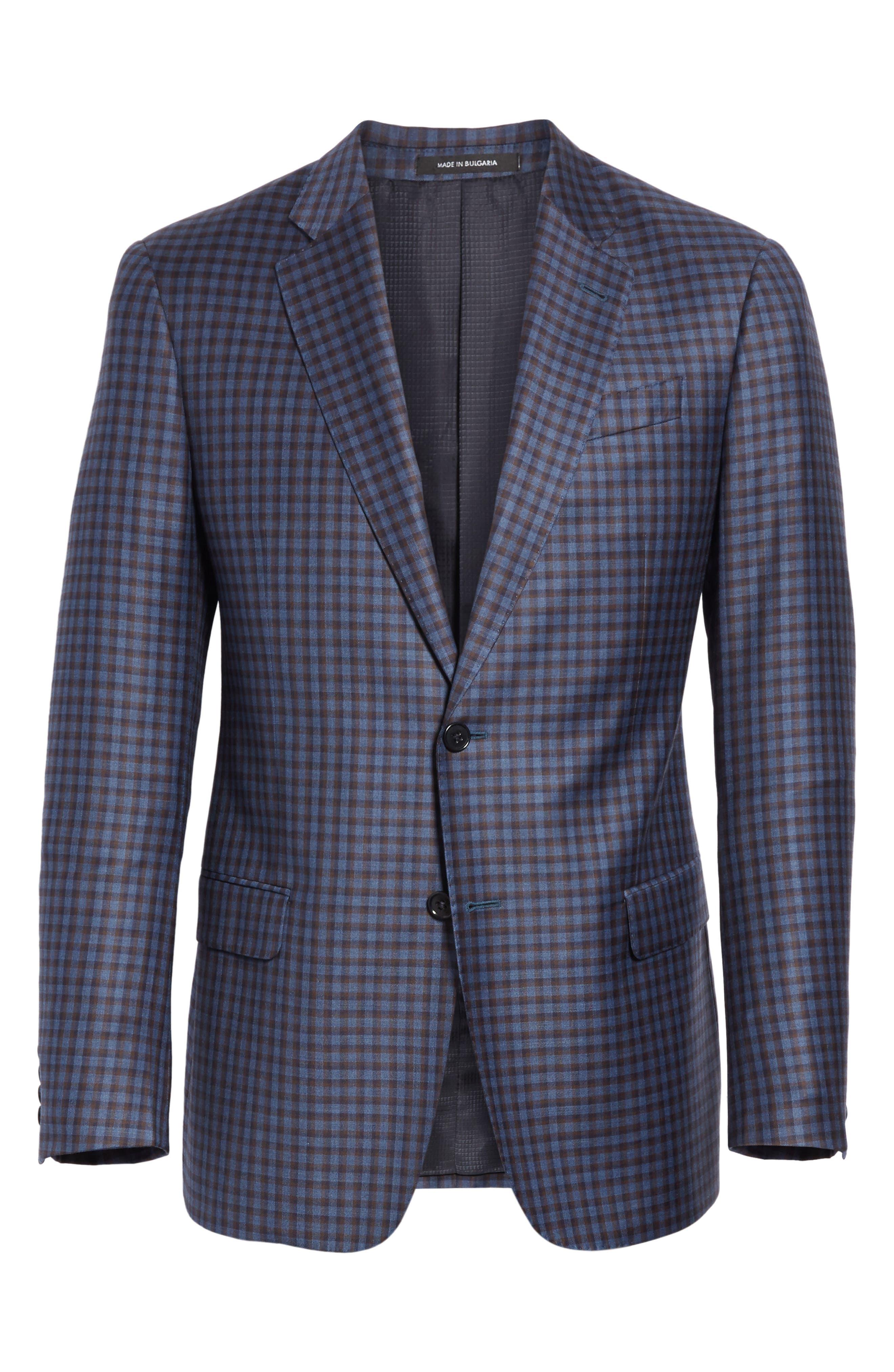G Line Trim Fit Check Wool Sport Coat,                             Alternate thumbnail 5, color,                             443
