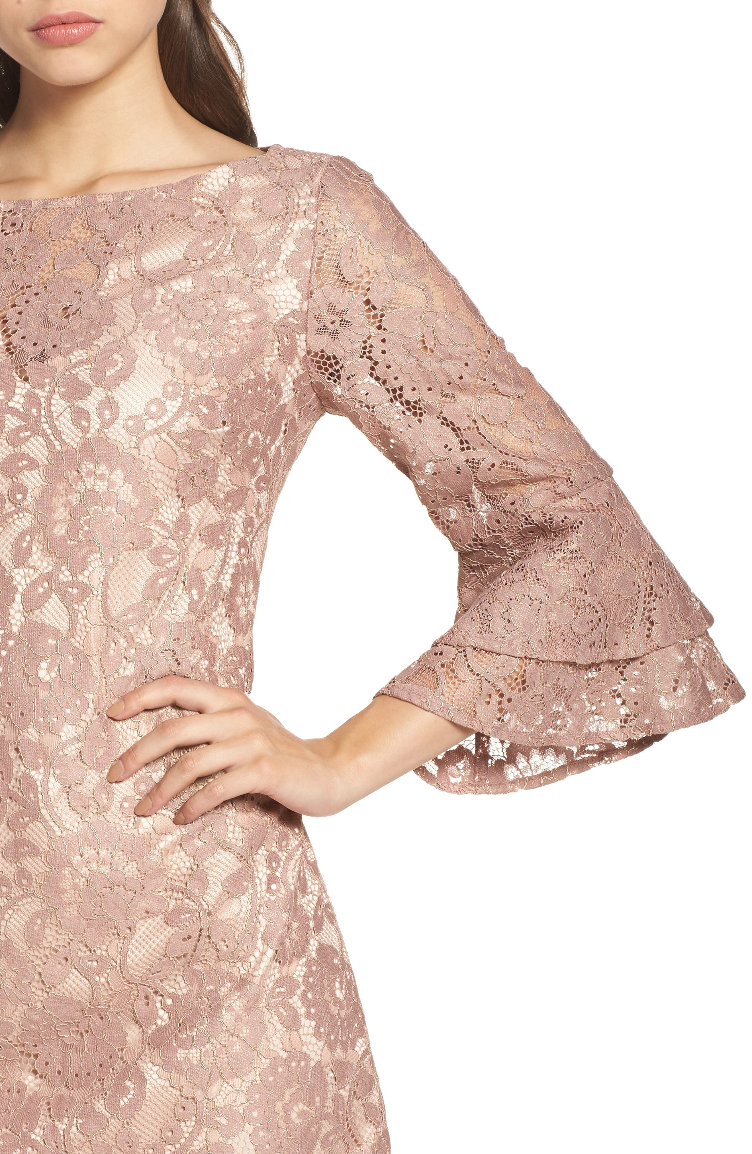Lace Bell Sleeve Dress,                             Alternate thumbnail 4, color,                             684