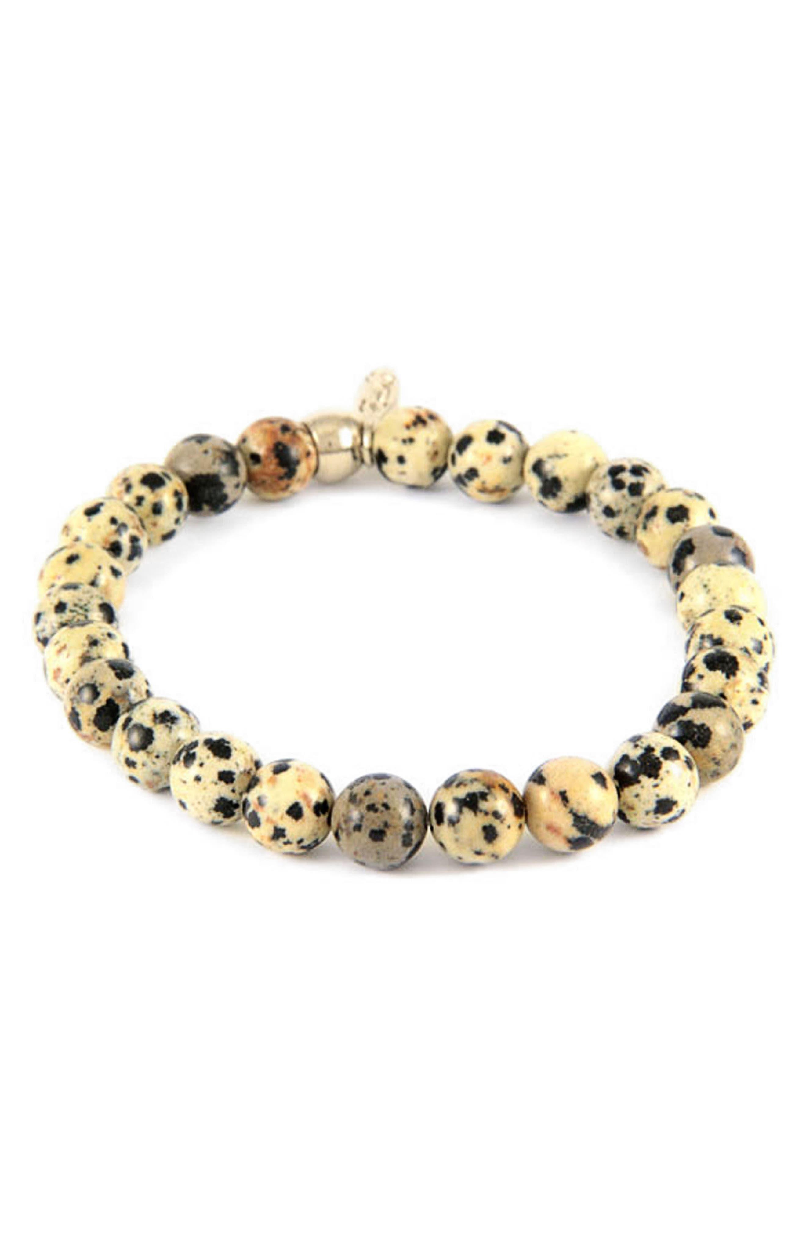 MR. ETTIKA,                             Dalmatian Jasper Bead Bracelet,                             Main thumbnail 1, color,                             250