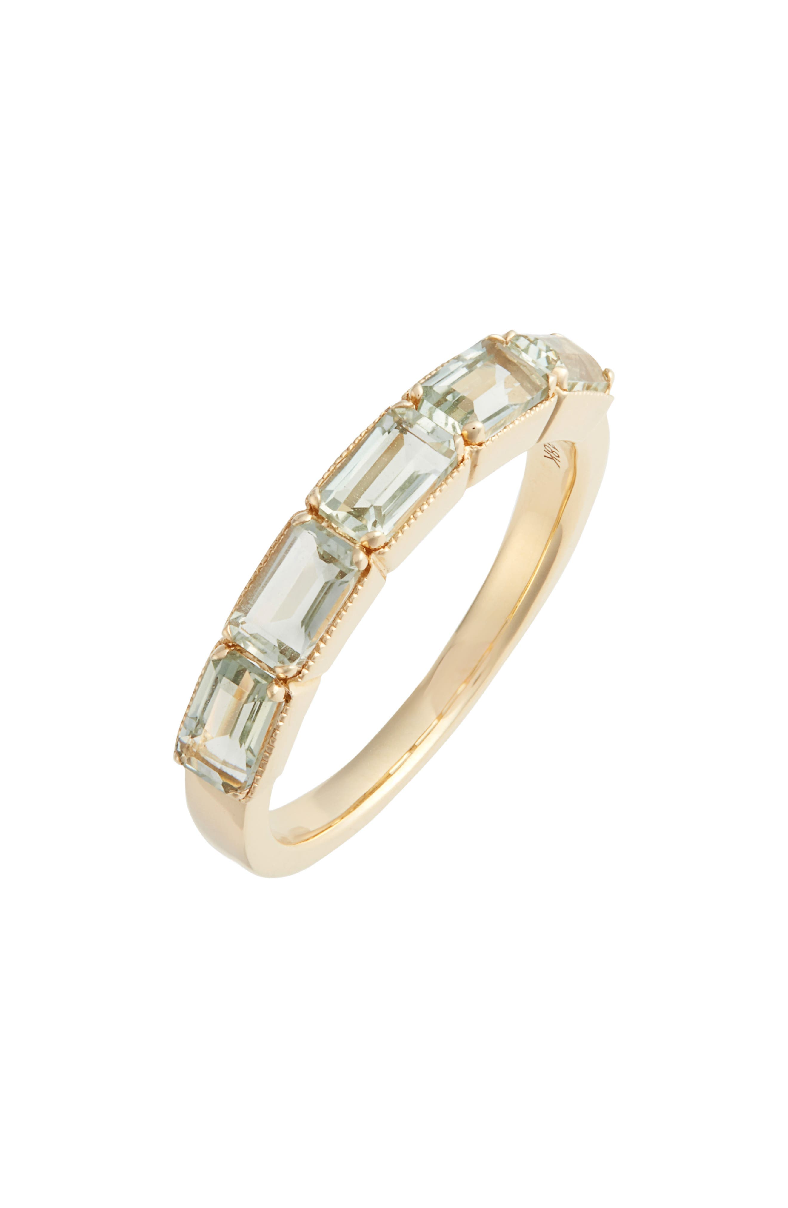 Green Amethyst Baguette Stack Ring,                             Main thumbnail 1, color,                             YELLOW GOLD/ GREEN AMETHYST