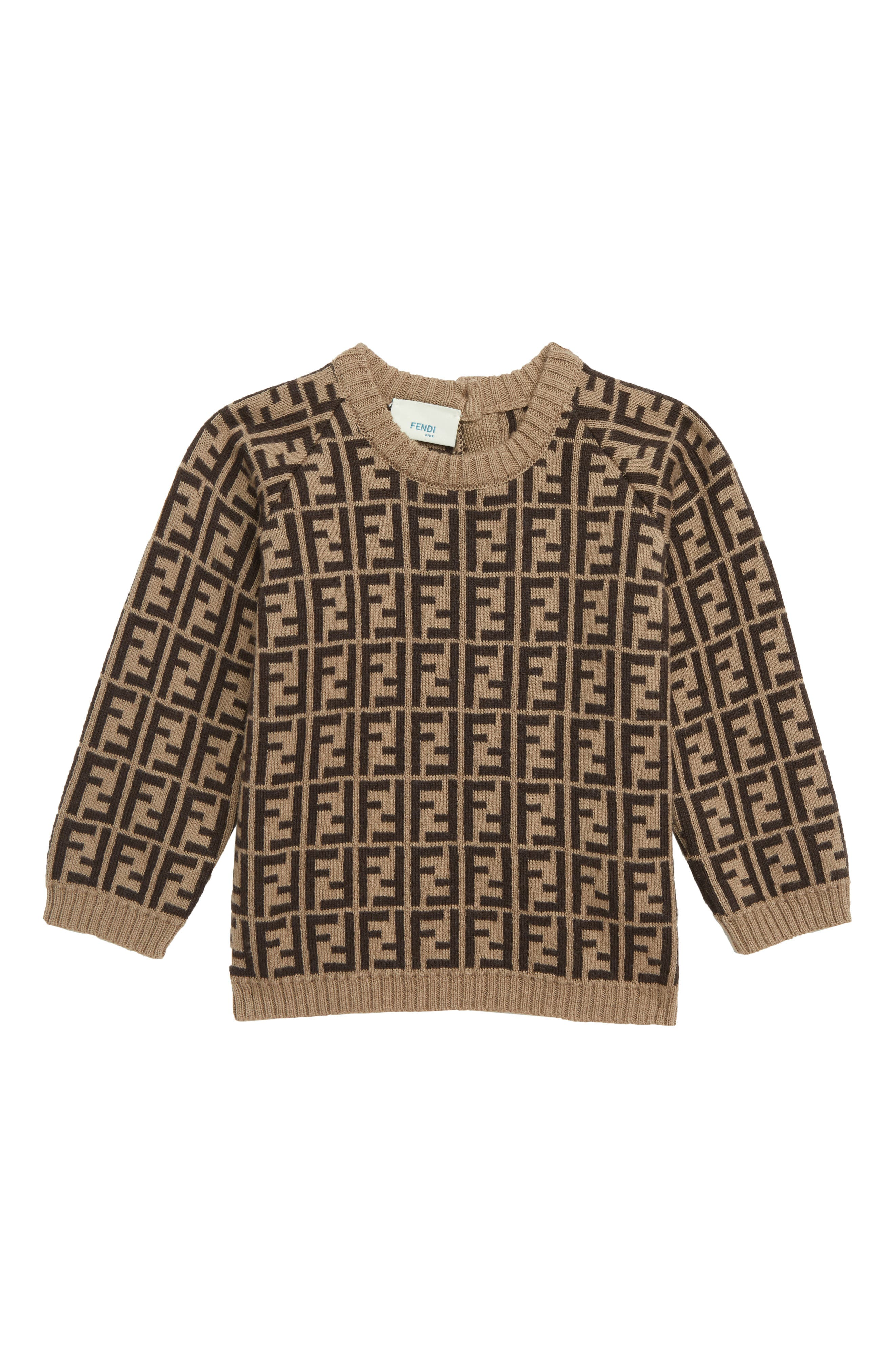FENDI,                             Logo Sweater,                             Main thumbnail 1, color,                             F0LMJ BROWN