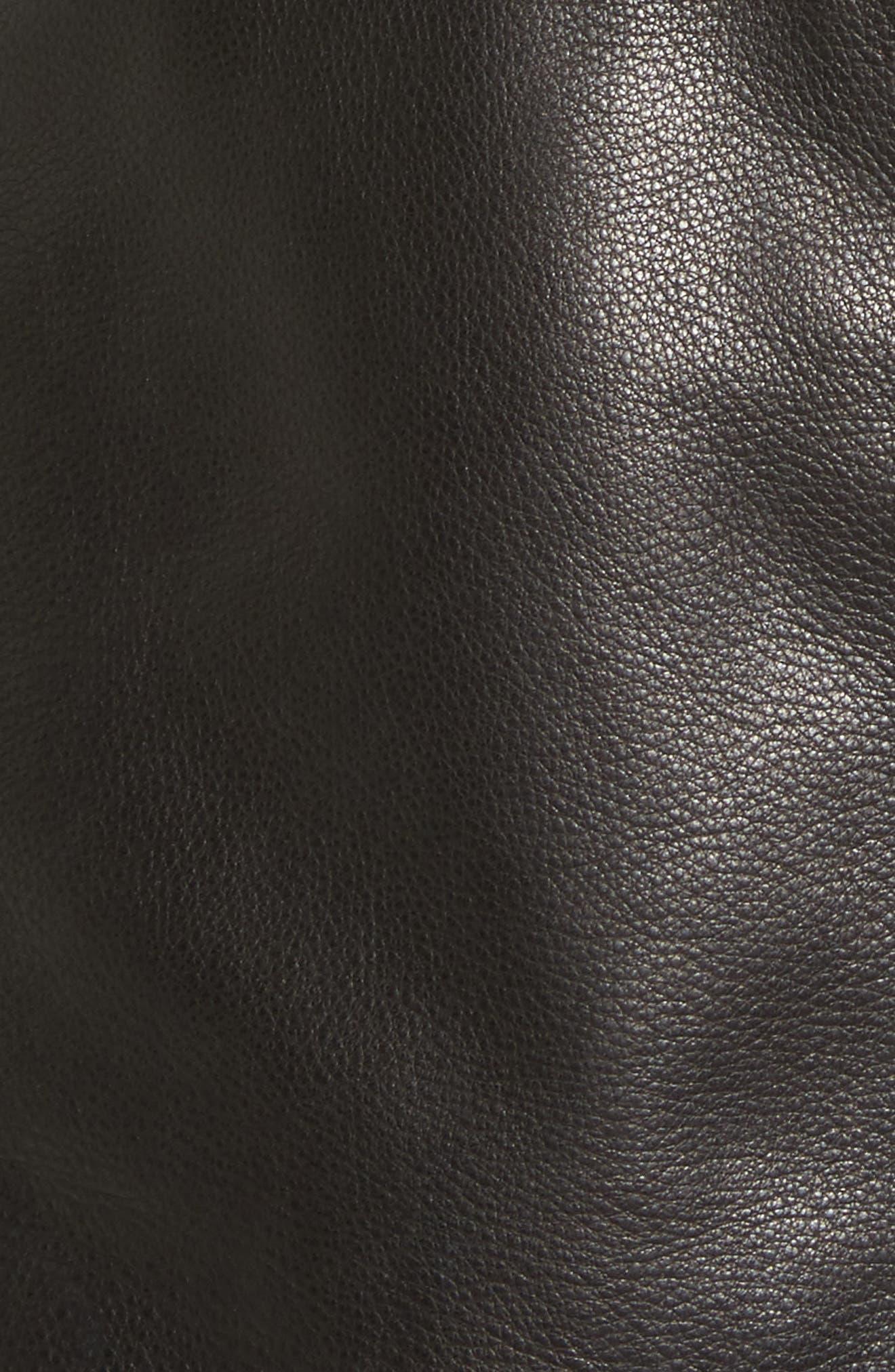 Leather Moto Jacket,                             Alternate thumbnail 6, color,                             001
