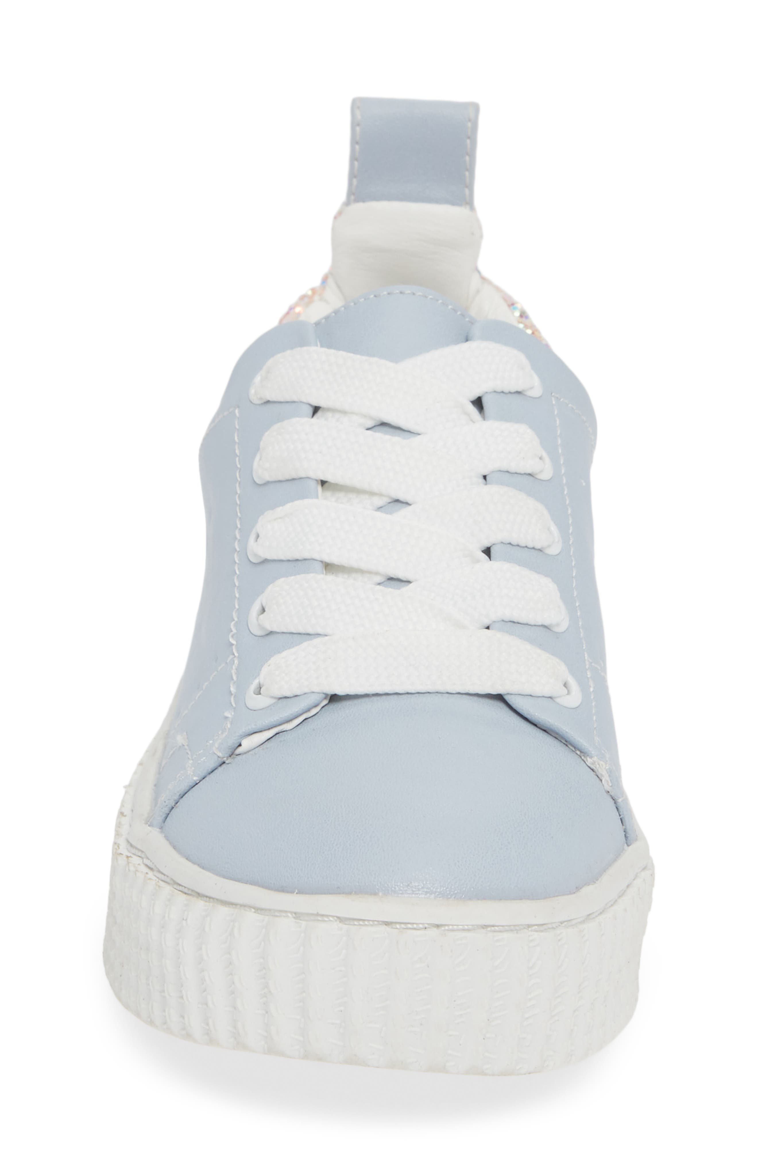 Wren Glitter Heel Sneaker,                             Alternate thumbnail 4, color,                             LIGHT BLUE