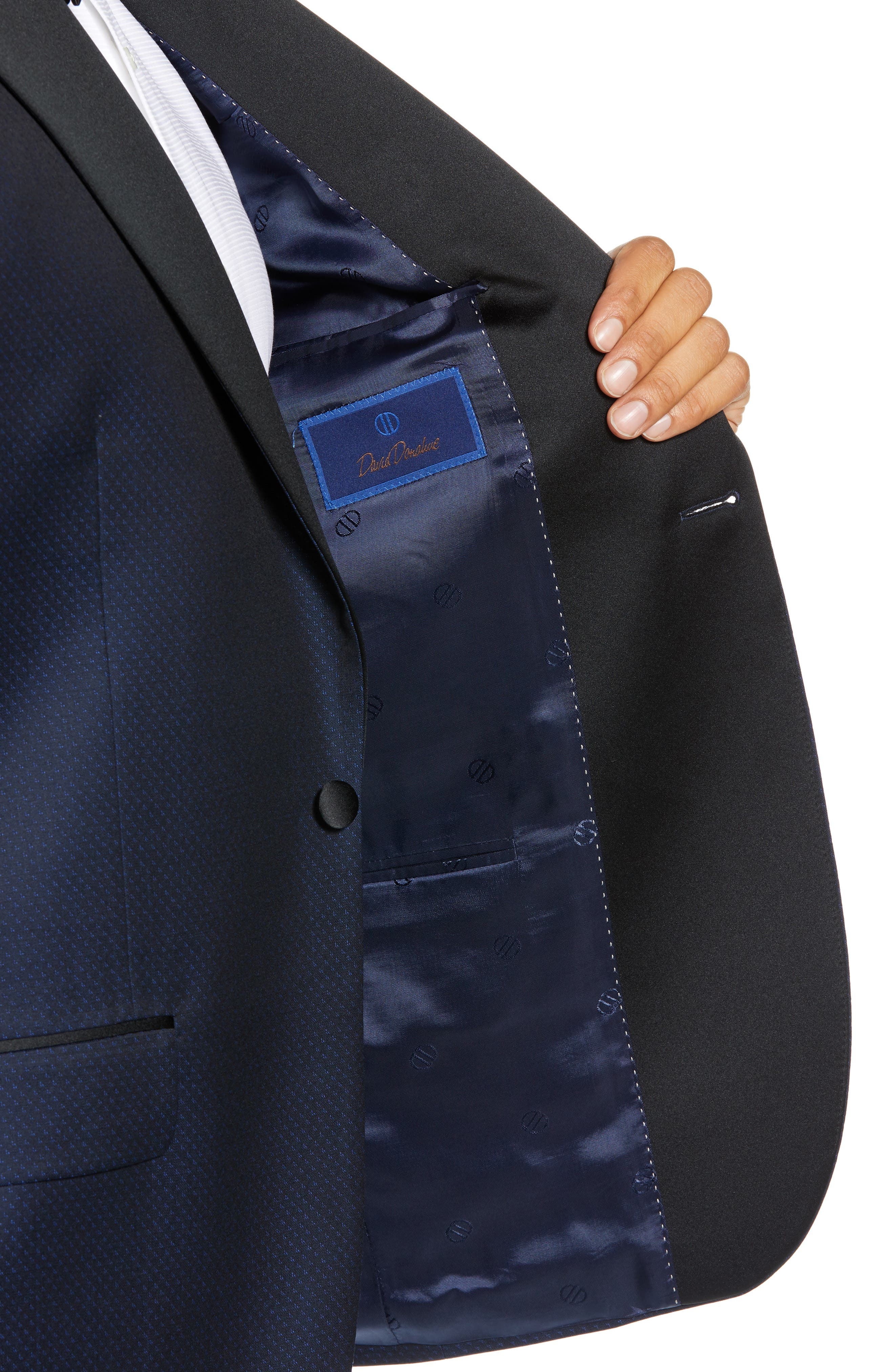 DAVID DONAHUE,                             Russell Classic Fit Wool Dinner Jacket,                             Alternate thumbnail 4, color,                             NAVY