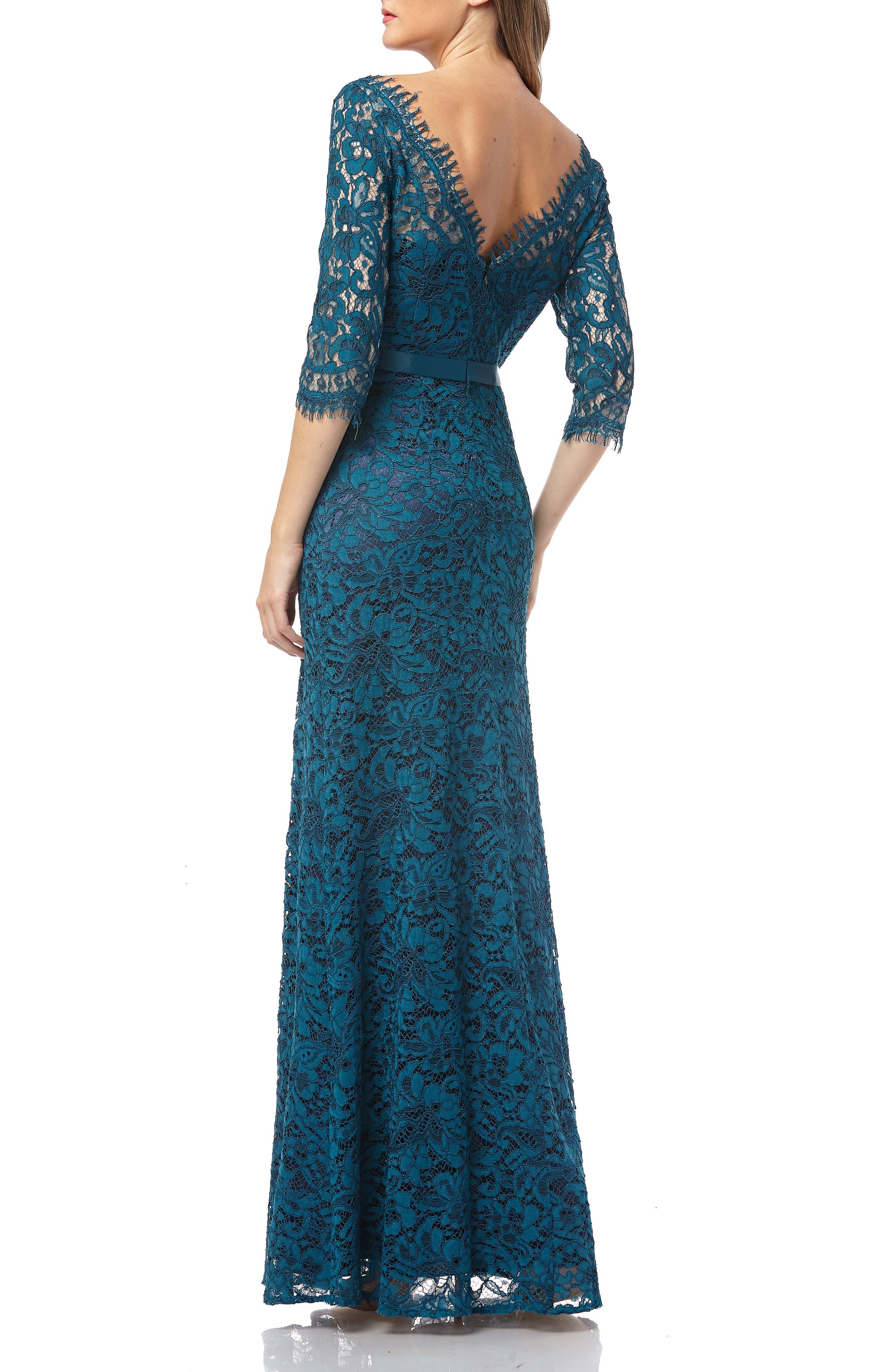 JS COLLECTIONS,                             Bateau Neck Lace Gown,                             Alternate thumbnail 2, color,                             TURQOISE NAVY