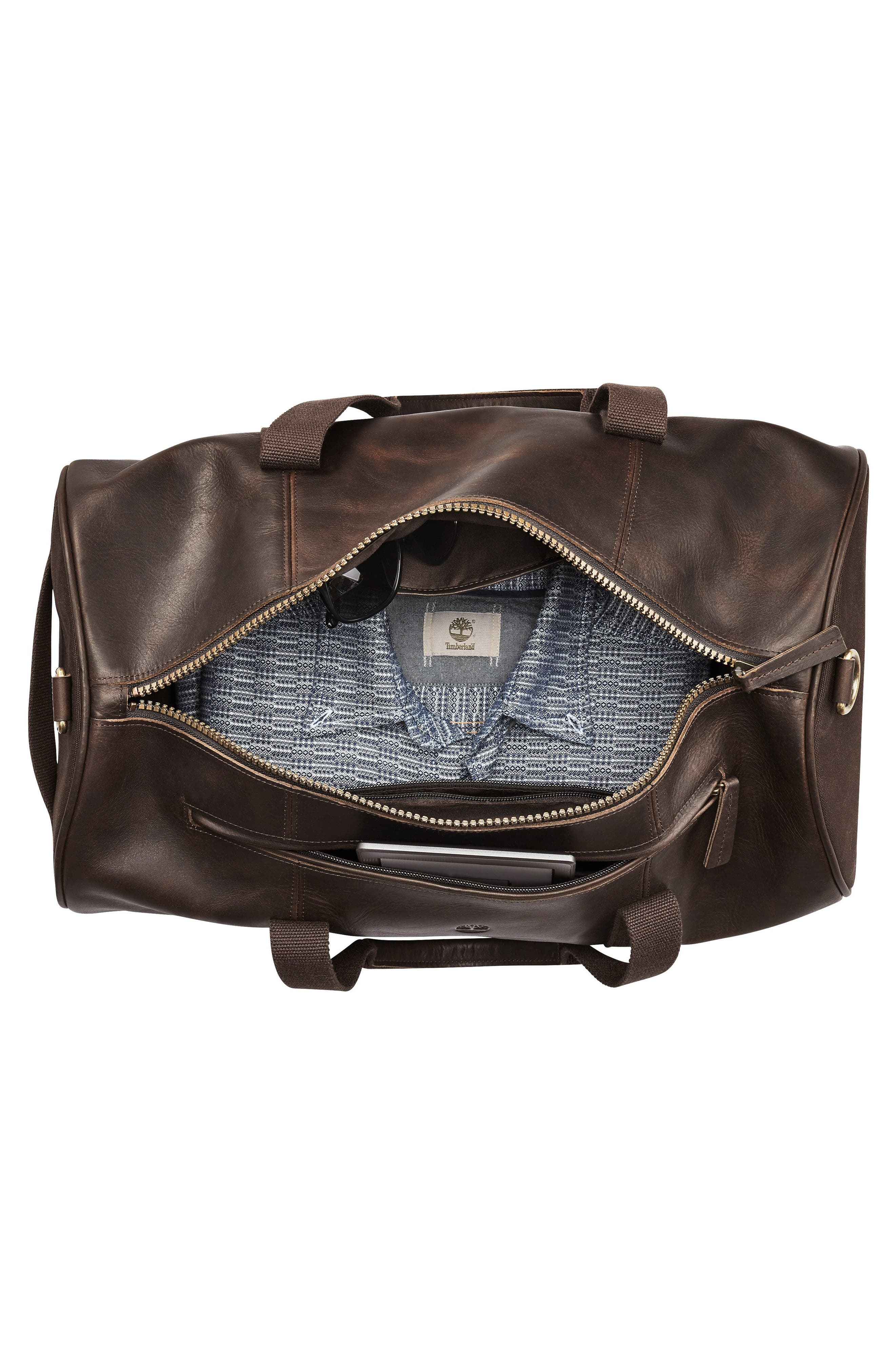 Tuckerman Leather Duffel,                             Alternate thumbnail 3, color,                             DARK BROWN