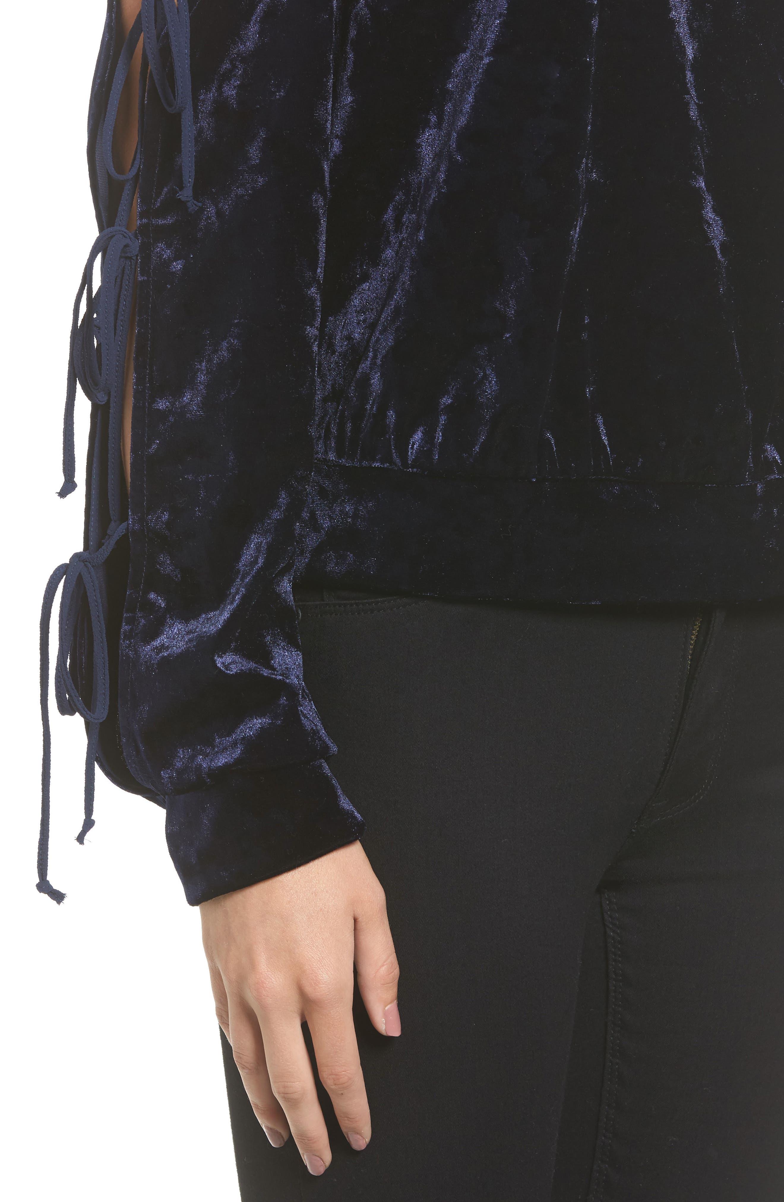 Crushed Velvet Cold Shoulder Sweatshirt,                             Alternate thumbnail 4, color,                             412