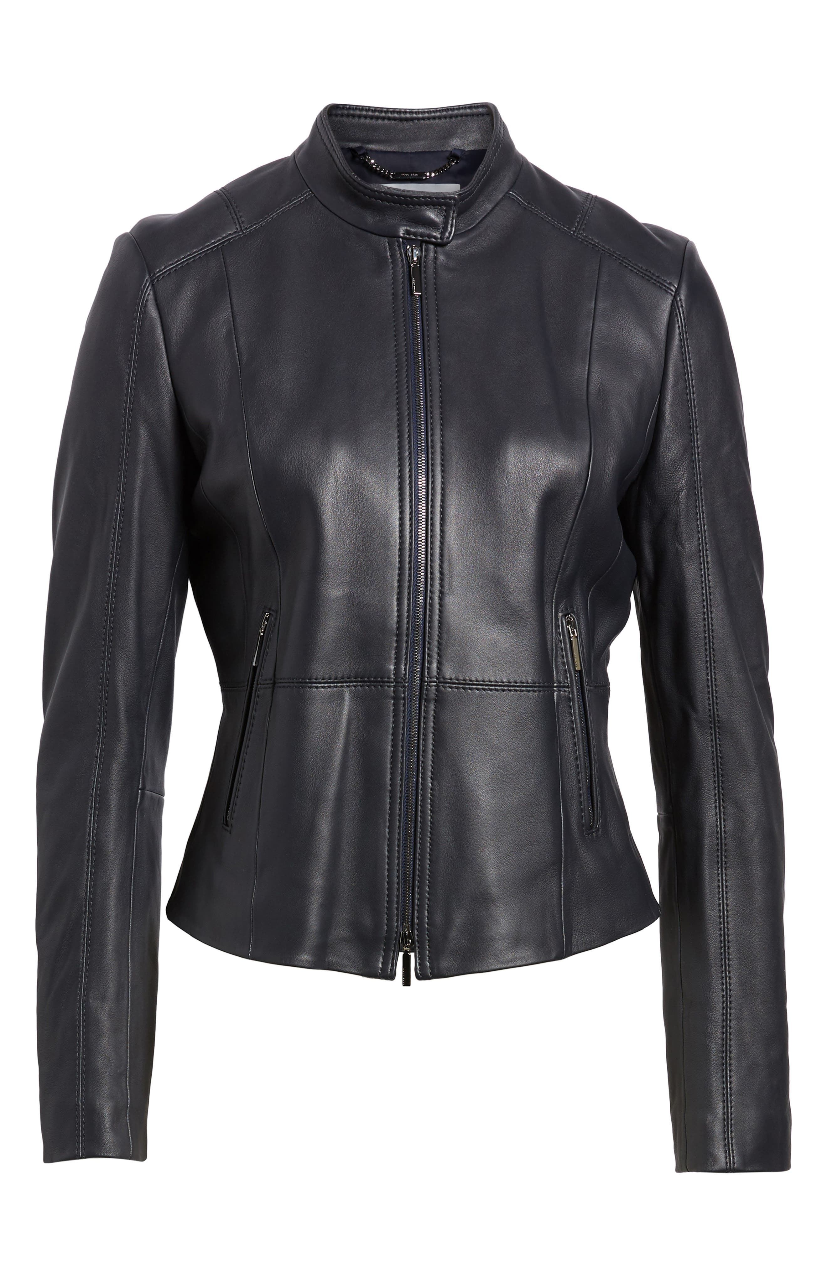 Sammonaie Leather Jacket,                             Alternate thumbnail 5, color,                             480