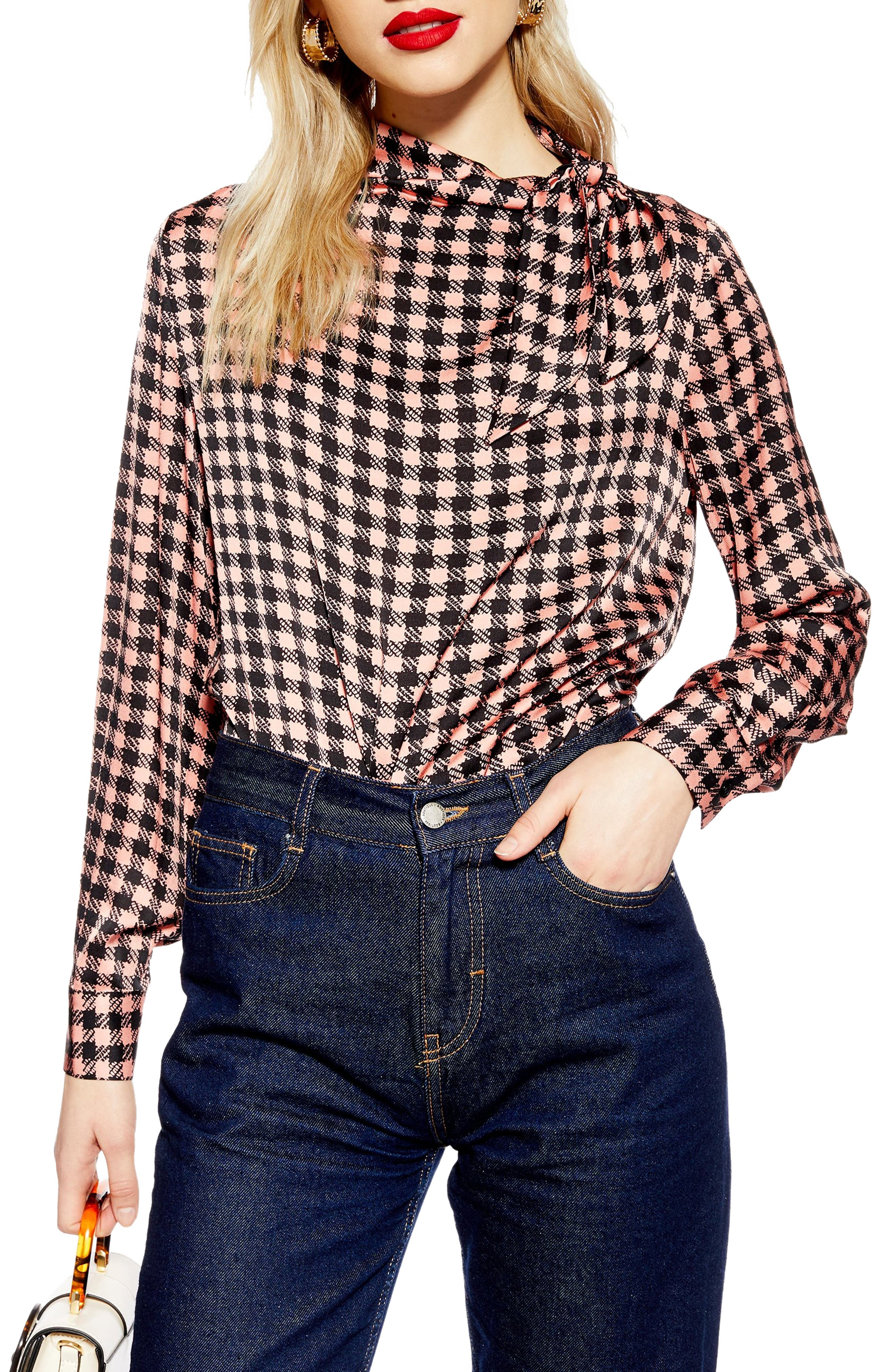 TOPSHOP Bow Collar Check Top, Main, color, PINK MULTI