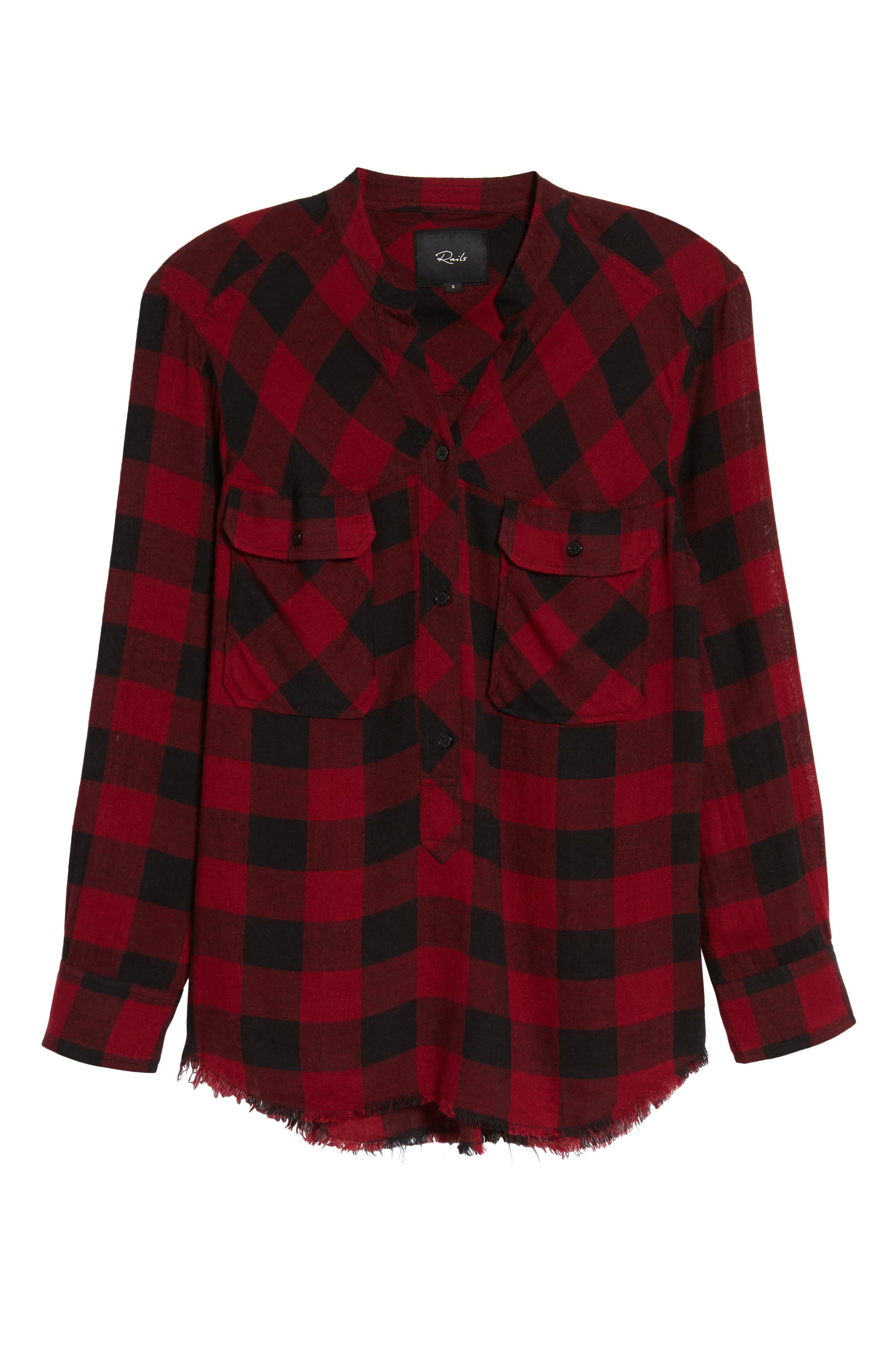 Redding Plaid Shirt,                             Alternate thumbnail 6, color,                             SANGUINE BLACK