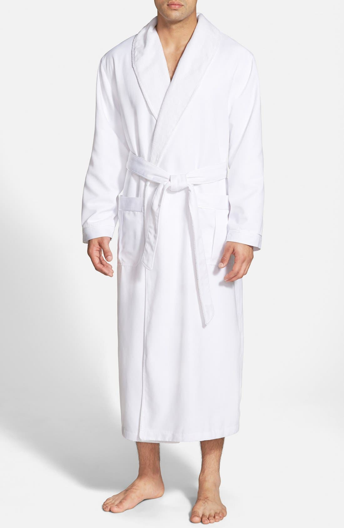 Fleece Lined Robe,                         Main,                         color, WHITE