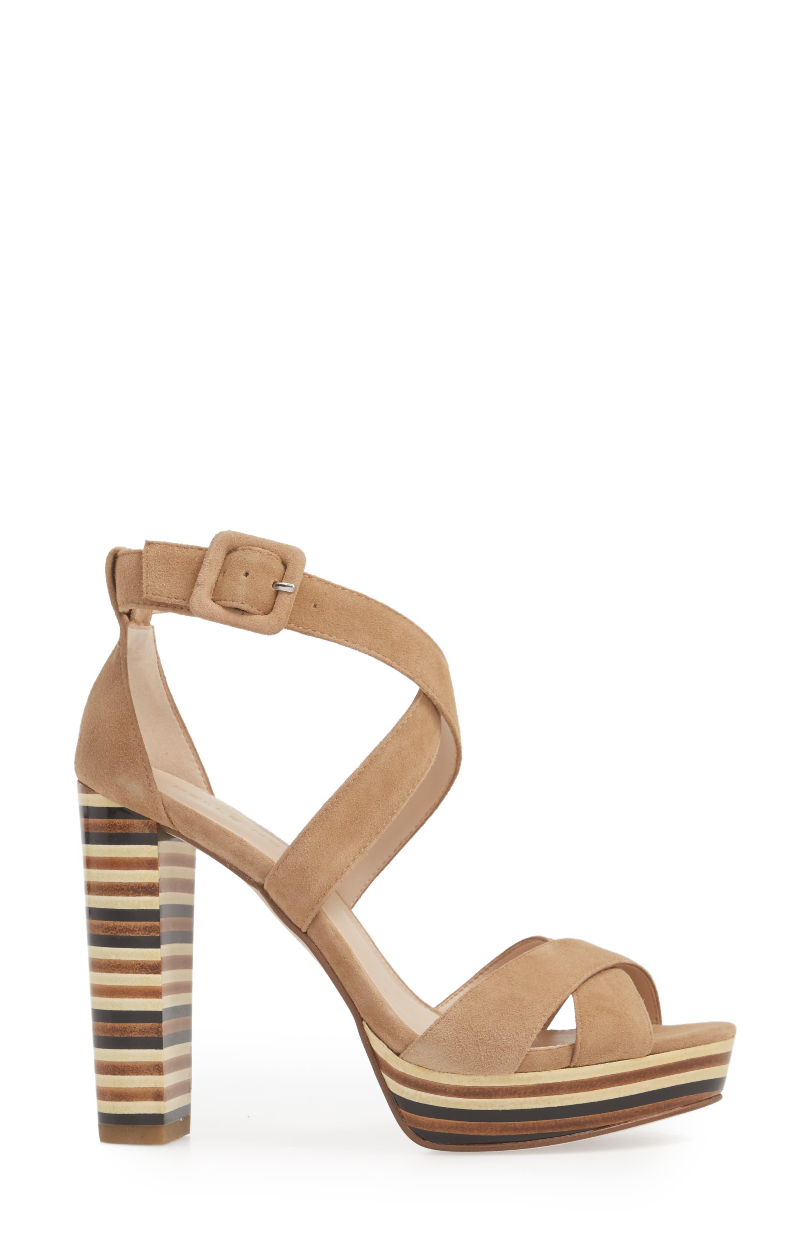 Panama Platform Sandal,                             Alternate thumbnail 3, color,                             LATTE SUEDE