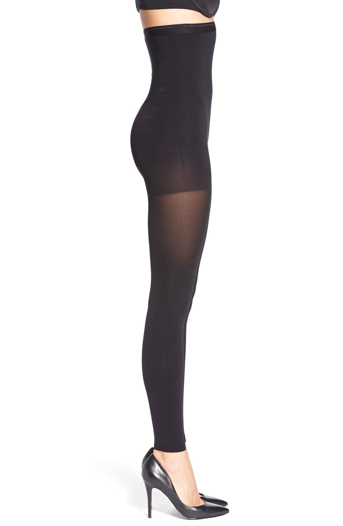 High Rise Opaque Footless Shaping Tights,                             Main thumbnail 1, color,                             BLACK