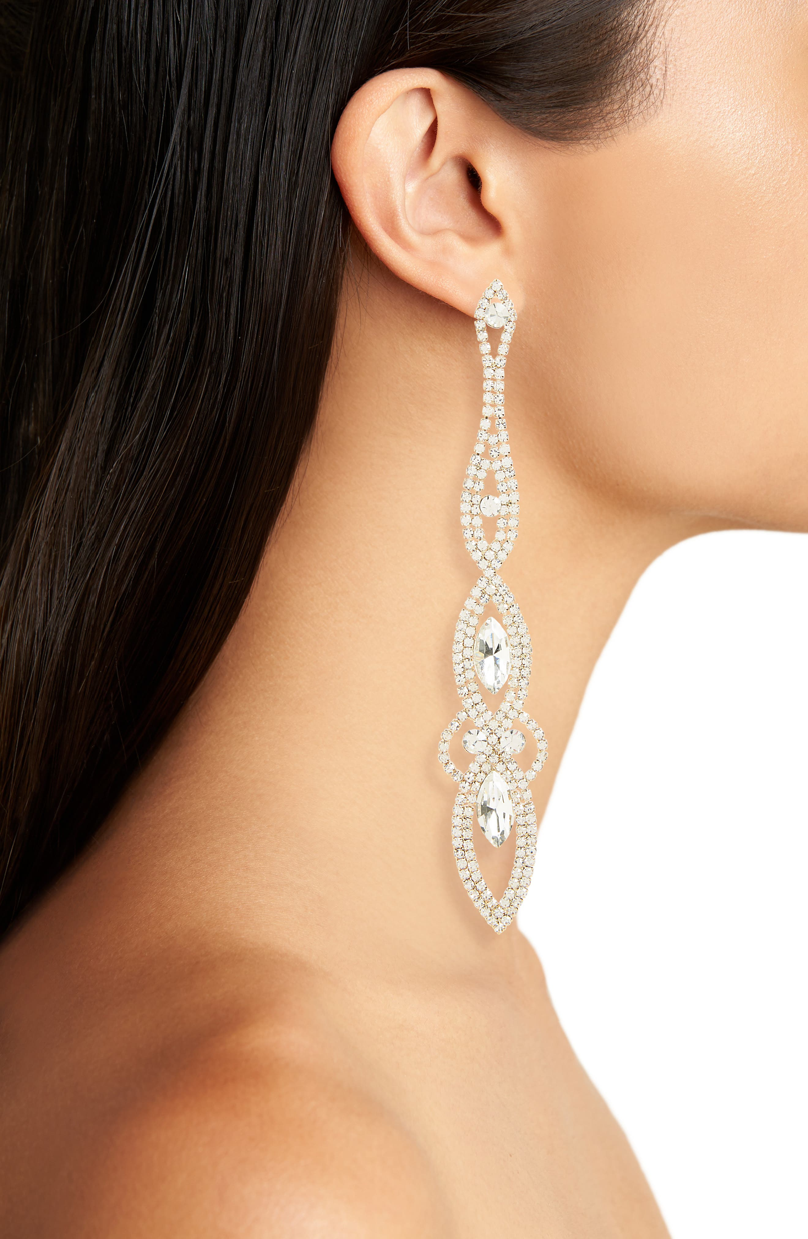 Long Crystal Statement Earrings,                             Alternate thumbnail 2, color,