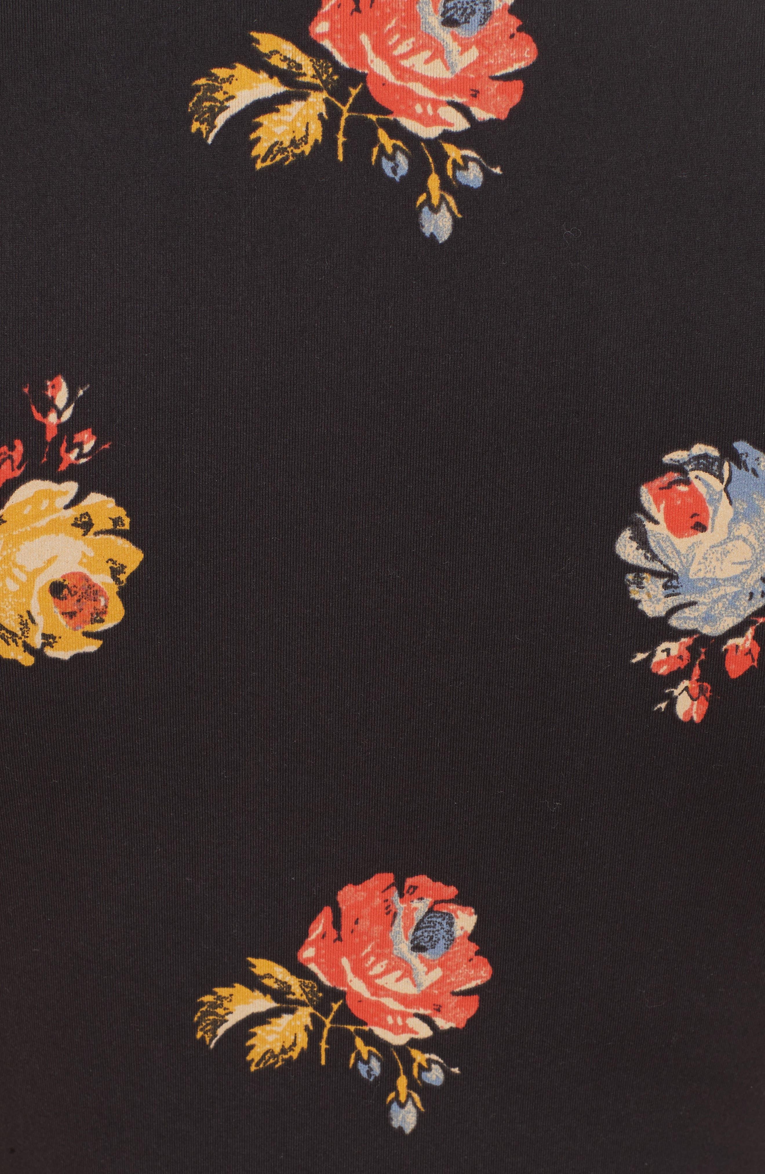 Floral Square Neck Thong Bodysuit,                             Alternate thumbnail 5, color,                             BLACK COMBO