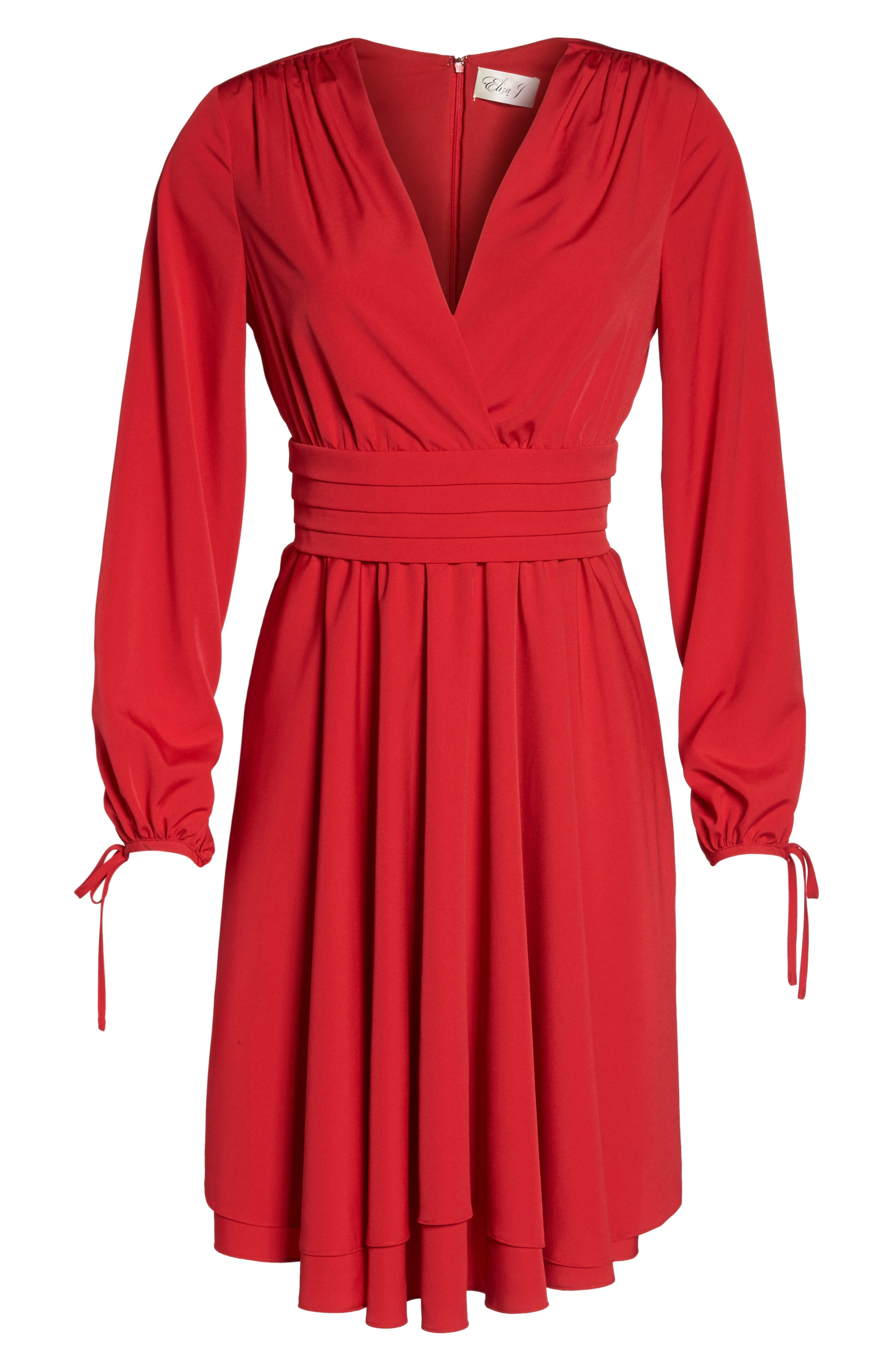 Tie Sleeve Fit & Flare Dress,                             Alternate thumbnail 6, color,                             610