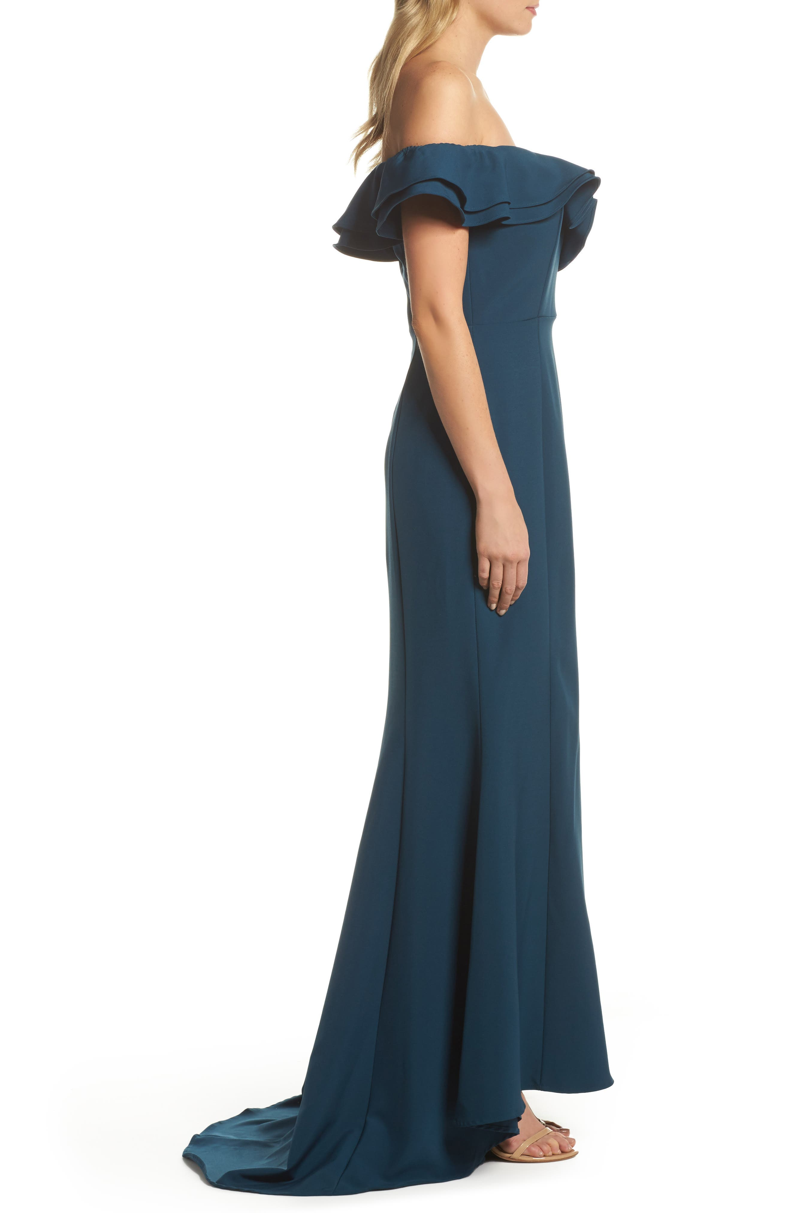 Yazmin Ruffle Off the Shoulder Gown,                             Alternate thumbnail 3, color,