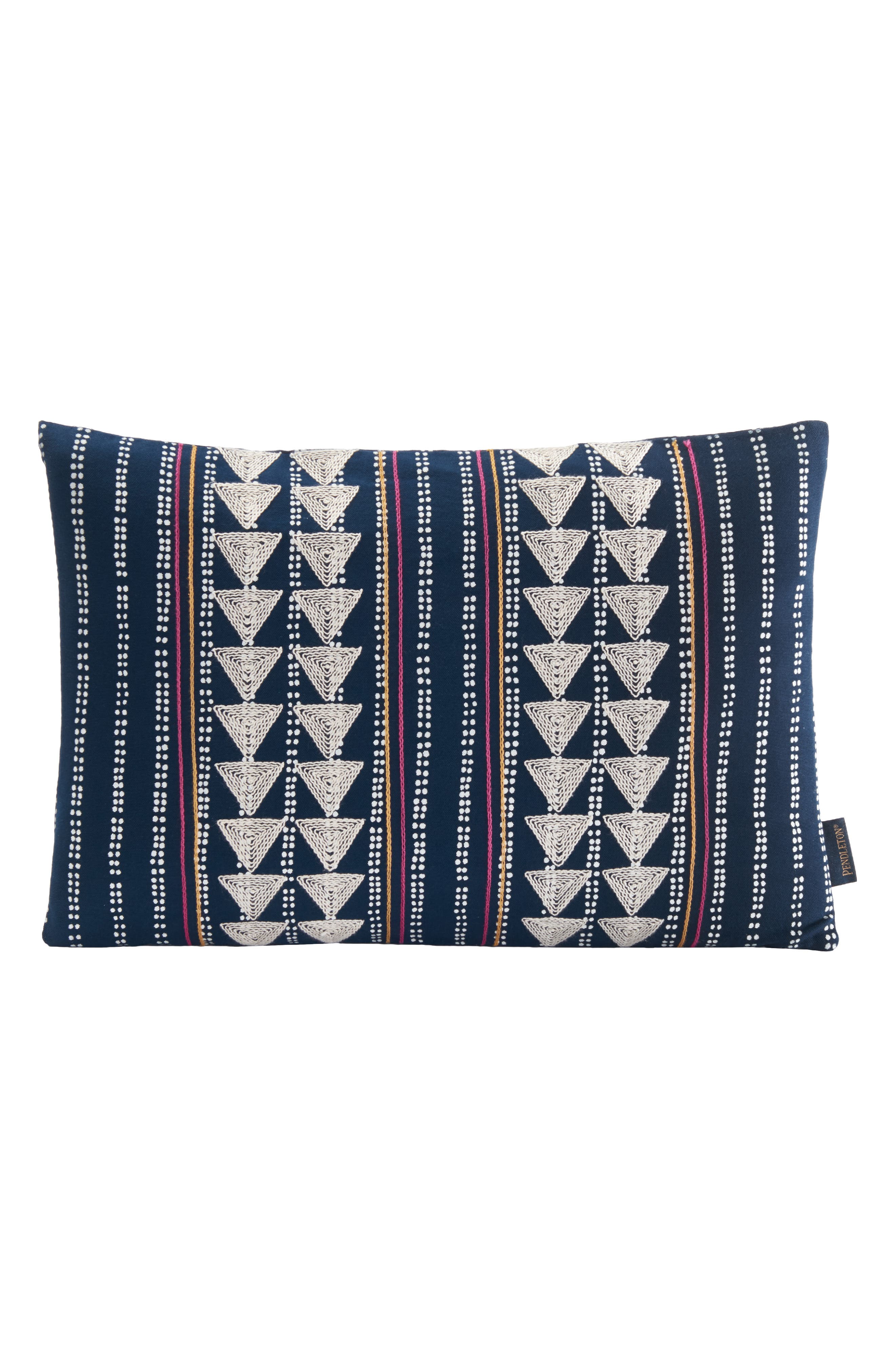 PENDLETON Embroidered Print Accent Pillow, Main, color, NAVY