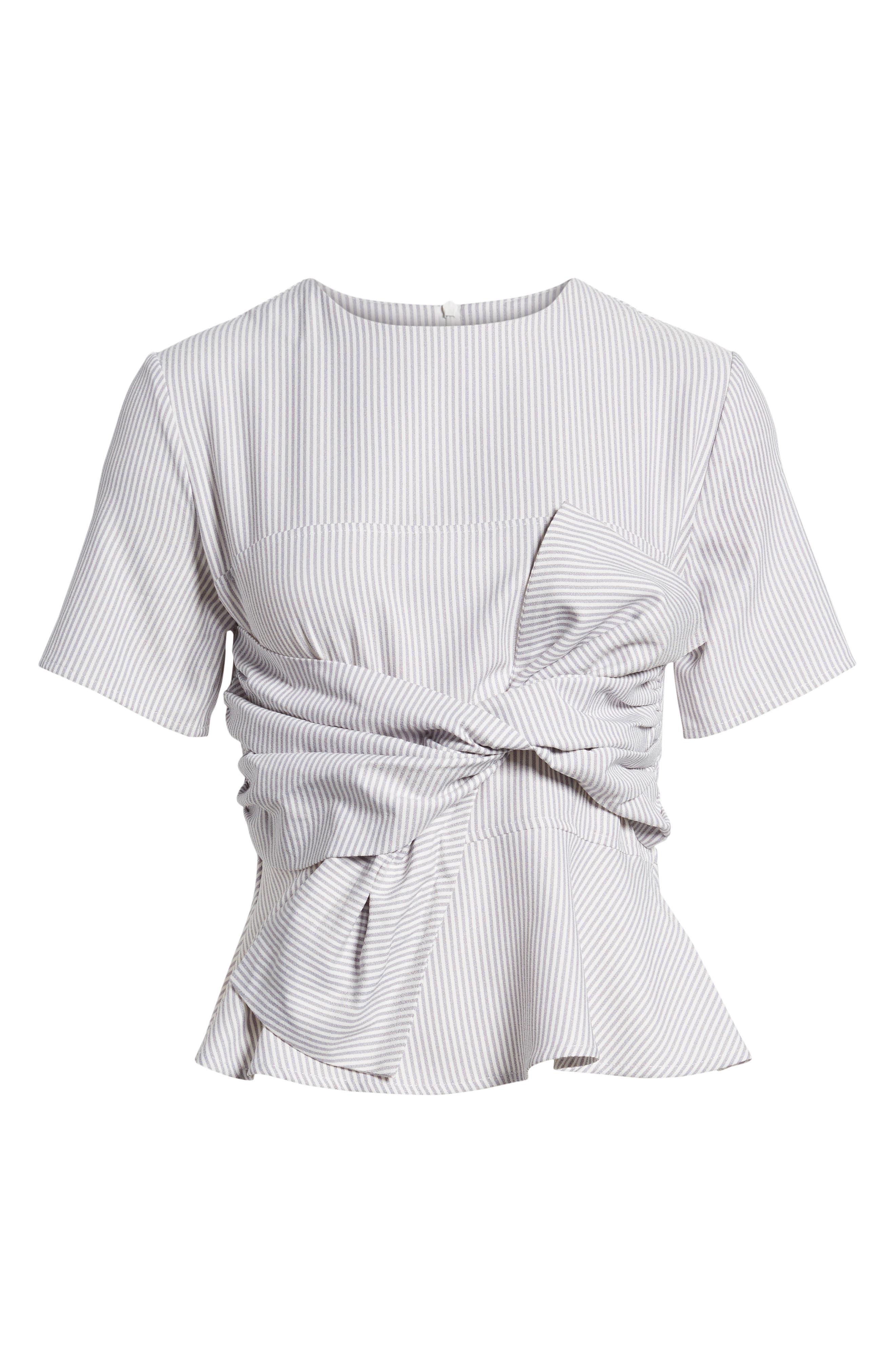 Tie Front Striped Blouse,                             Alternate thumbnail 7, color,                             020