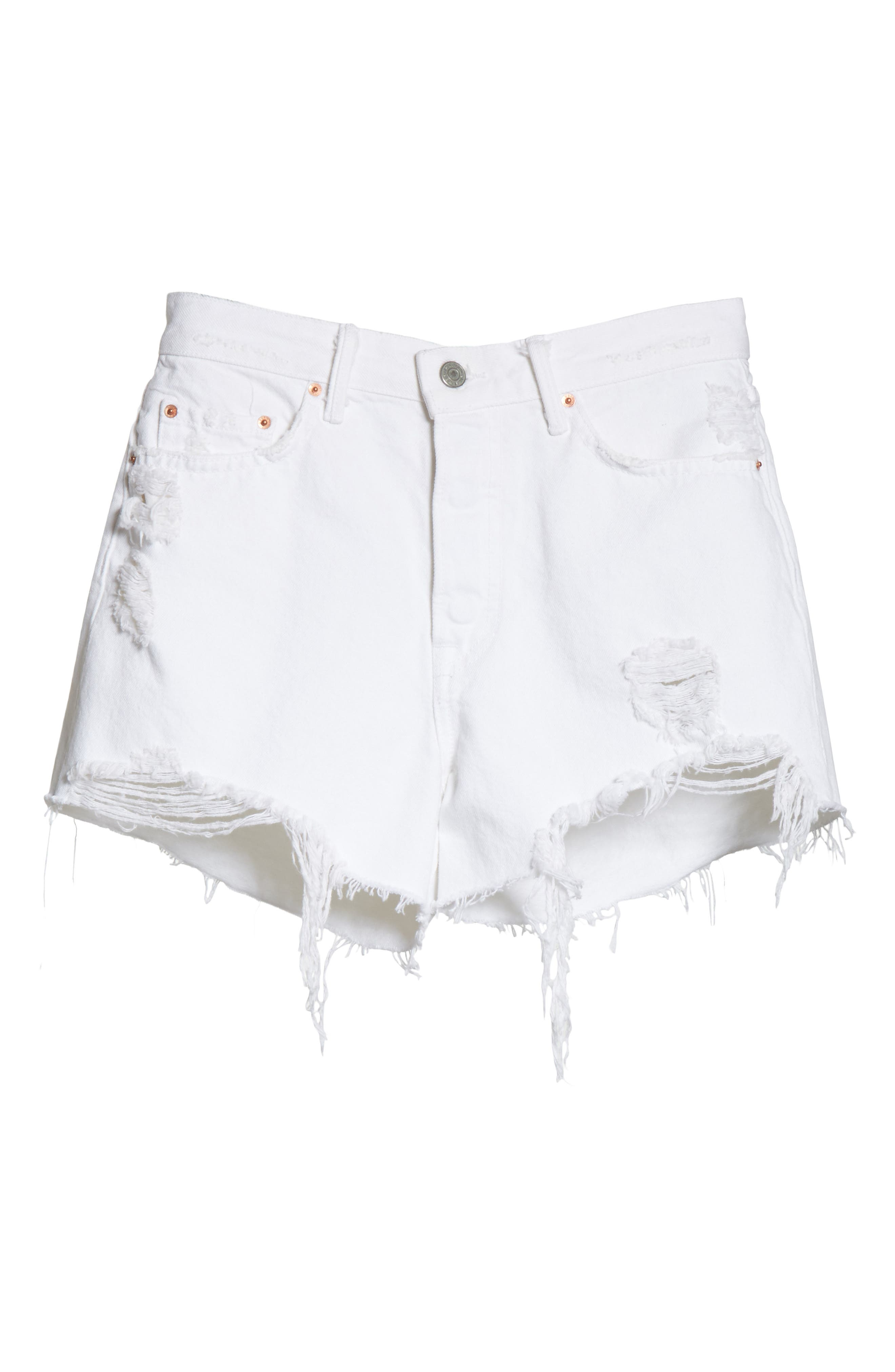 Helena High Waist Denim Shorts,                             Alternate thumbnail 7, color,                             100