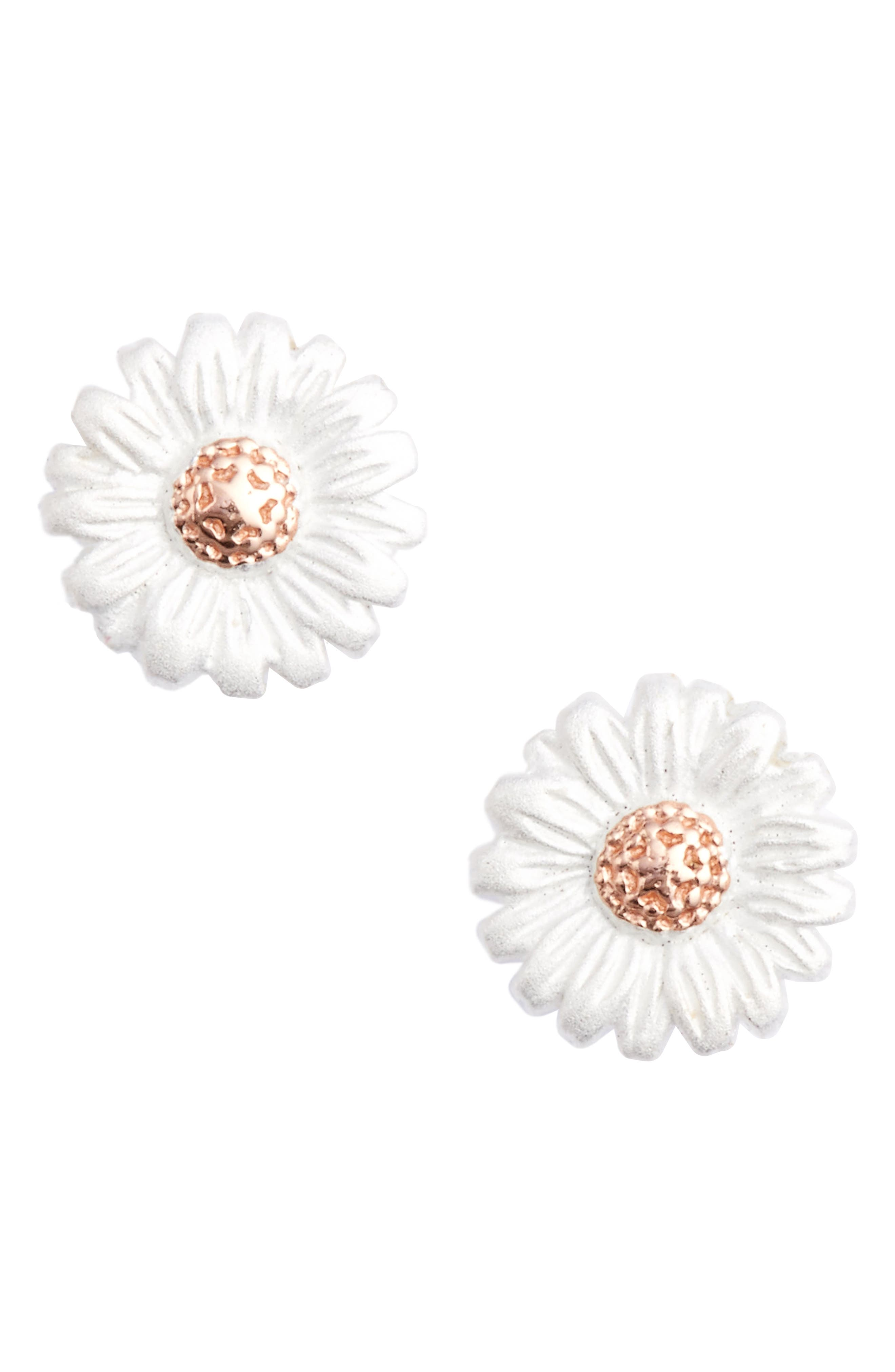 Daisy Stud Earrings,                         Main,                         color, SILVER/ ROSE GOLD