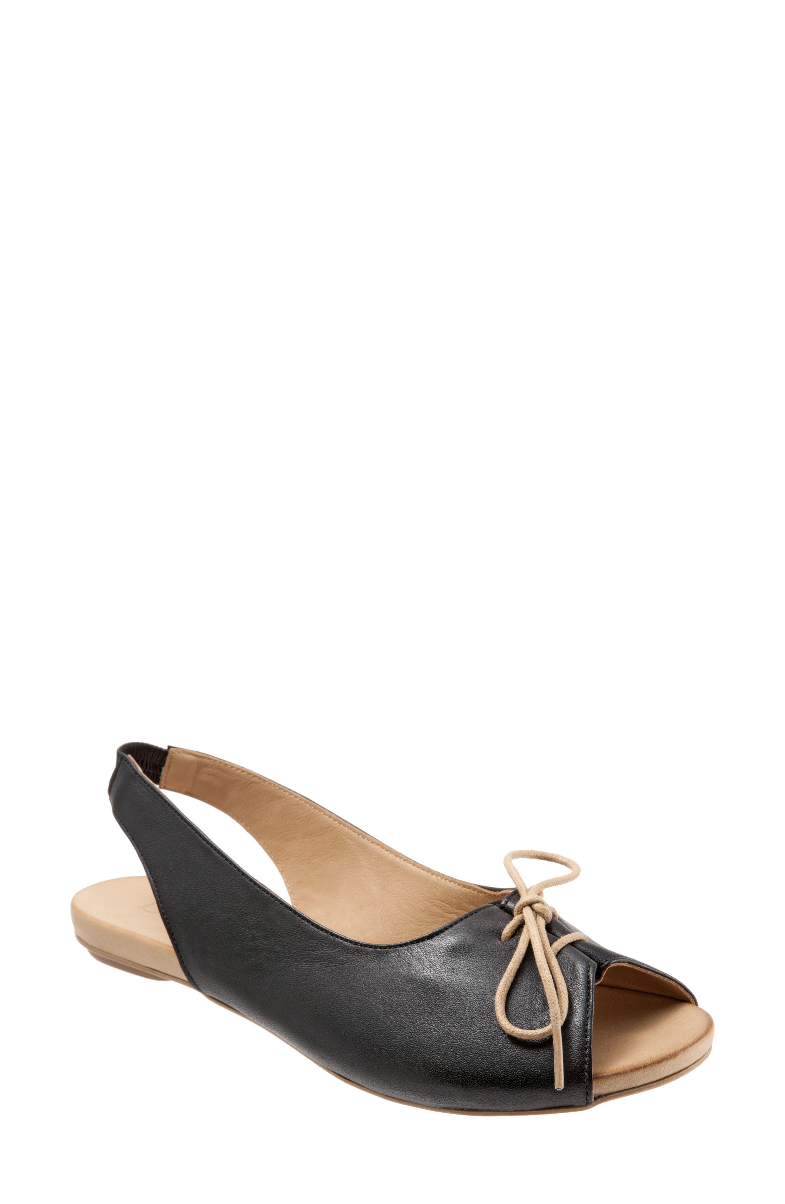 Keely Slingback Tie Sandal,                             Main thumbnail 1, color,                             BLACK LEATHER
