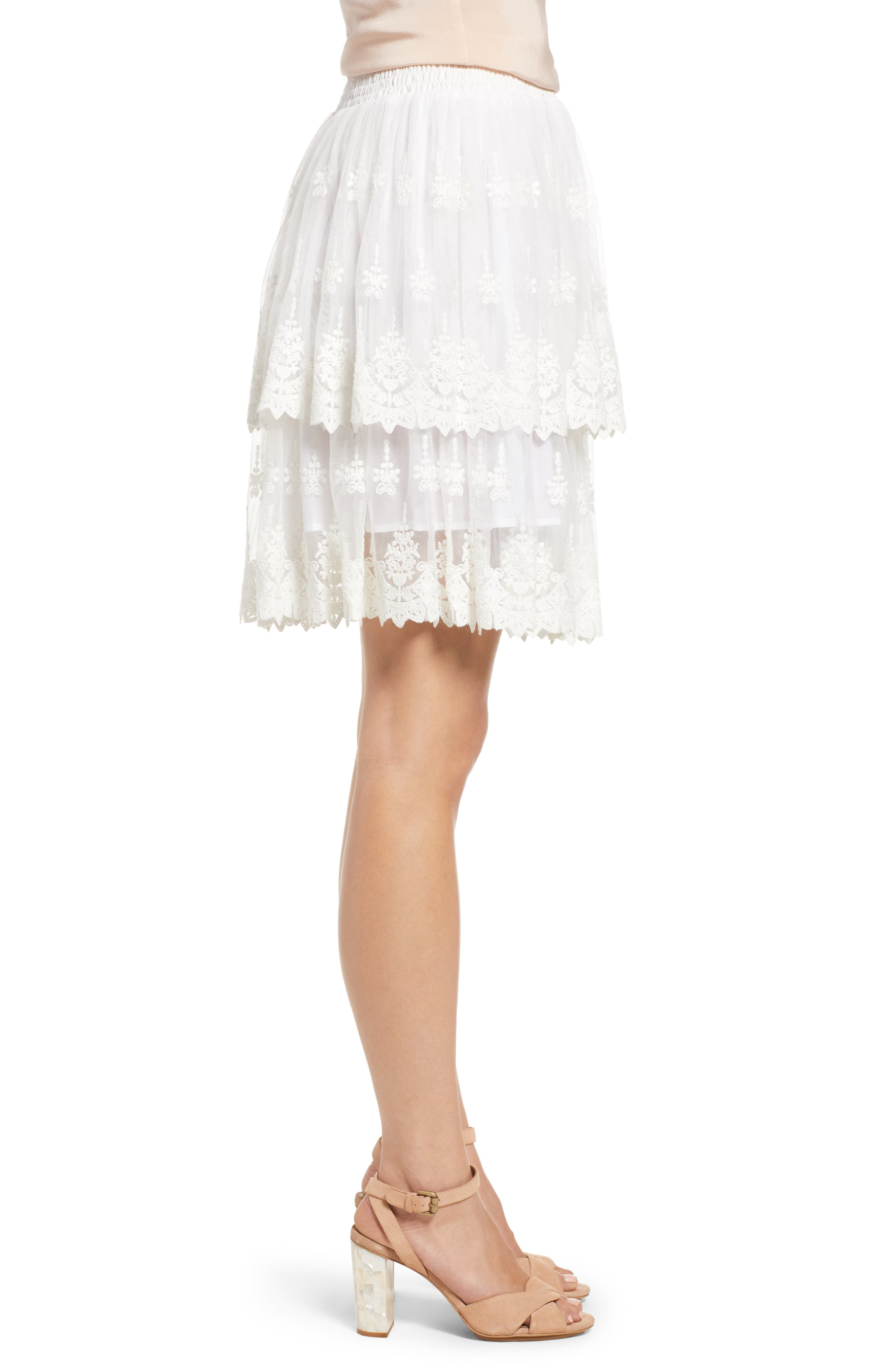 Francine Tiered Lace Skirt,                             Alternate thumbnail 3, color,                             WHITE