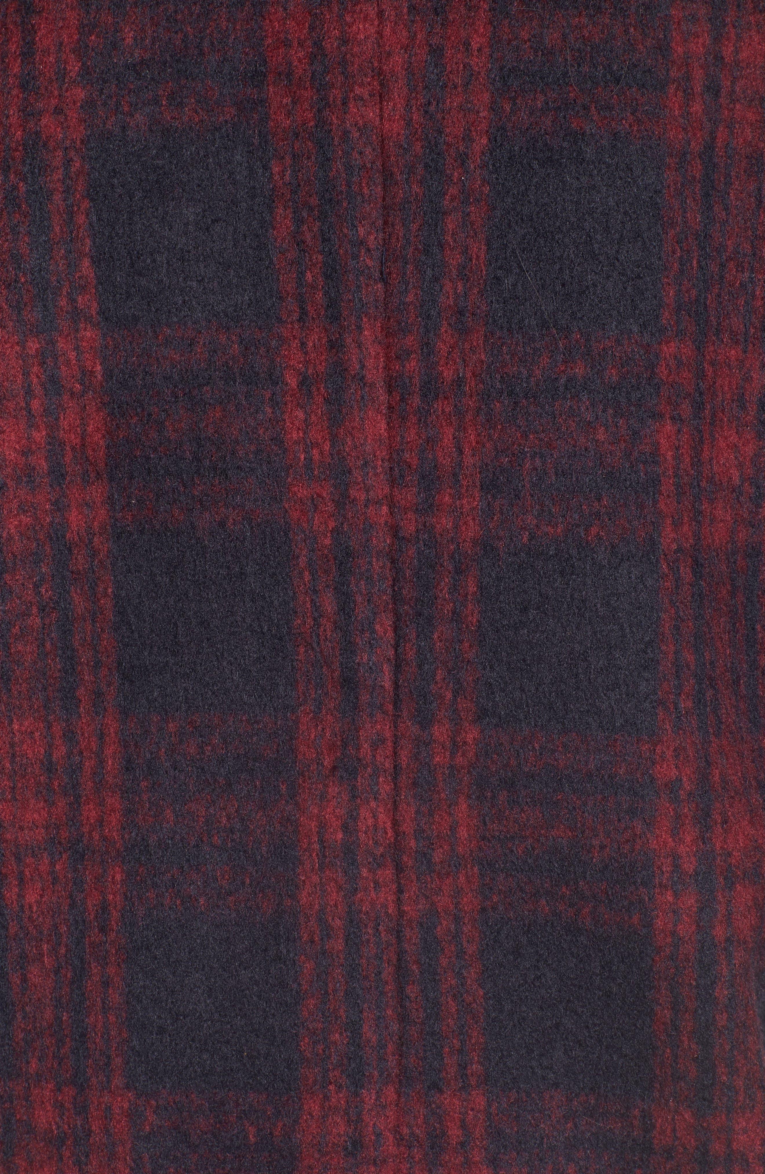Brushed Plaid Coat,                             Alternate thumbnail 7, color,                             RED VELVET